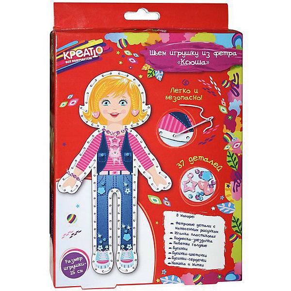 Шьем игрушку из фетра Ксюша, CreattoШитьё<br>Характеристики товара:<br><br>• комплектация: 2 фетровые детали с нанесенным рисунком и перфорацией для стежков, пластиковая безопасная иголка, подвеска-звездочка, голубые пайетки, бусинки (круглые, цветочки, сердечки), нитки, набивка<br>• размер готовой игрушки: 25 см<br>• упаковка: коробка<br>• возраст: от 5 лет<br>• состав: пластик, текстиль<br>• страна бренда: Россия<br>• страна изготовитель: Китай<br><br>Возьмите фетровые детали и сложите их белой стороной внутрь, совмещая контур фигурки. Вденьте нить в иглу и начните обшивать контур туловища, набивая сначала ручки и ножки. Постепенно набивайте всю игрушку и, закончив соединительный шов, закрепите нить узелком. Украсьте одежду Ксюши бусинками и пайетками, пришейте сердечки на косички в качестве заколочек, создайте бусы и браслетик для Ксюши. <br><br>В наборе «Ксюша» ТМ «Креатто» 37 элементов: 2 фетровые детали с нанесенным рисунком и перфорацией для стежков, пластиковая безопасная иголка, подвеска-звездочка, голубые пайетки, бусинки (круглые, цветочки, сердечки), нитки, набивка. Детали легко сшиваются безопасной иголкой. Размер готовой игрушки: 25 см.<br><br>Шьем игрушку из фетра Ксюша, Creatto, вы можете приобрести в нашем интернет-магазине.<br><br>Ширина мм: 230<br>Глубина мм: 170<br>Высота мм: 40<br>Вес г: 100<br>Возраст от месяцев: 60<br>Возраст до месяцев: 2147483647<br>Пол: Женский<br>Возраст: Детский<br>SKU: 5453382