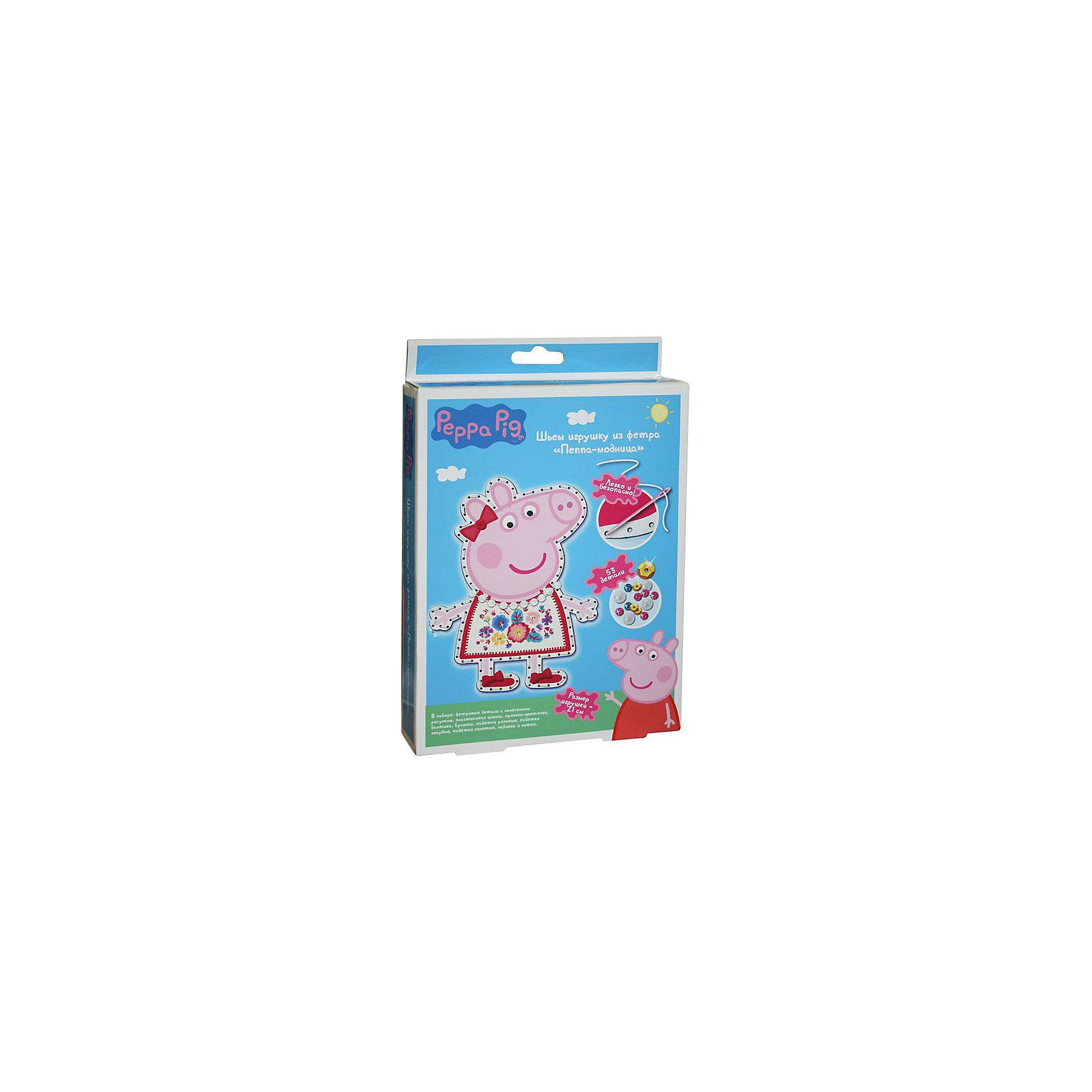 Шьем игрушку из фетра Пеппа-Модница, Peppa PigСвинка Пеппа<br>Характеристики товара:<br><br>• комплектация: 2 фетровые детали с нанесенным рисунком и перфорацией для стежков, пластиковая безопасная иголка, пуговка в виде цветочка бант, прозрачные бусинки, шнуровка для бус, пайетки, нитки, набивка<br>• размер готовой игрушки: 21 см<br>• упаковка: коробка<br>• возраст: от 5 лет<br>• состав: пластик, текстиль<br>• страна бренда: Россия<br>• страна изготовитель: Китай<br><br>Украсьте фетровые детали блестящими пайетками, а затем сложите их белой стороной внутрь, совмещая контур фигурки. Вденьте нитку в иголку и начните обшивать контур туловища, набивая сначала ручки и ножки. Постепенно наполняйте всю игрушку и, закончив, закрепите нить узелком. Украсьте голову Пеппы цветочком, башмачки - бантиками, сделайте бусы для свинки.<br><br>В наборе «Пеппа-модница» ТМ «Свинка Пеппа» 53 детали: 2 фетровые детали с нанесенным рисунком и перфорацией для стежков, пластиковая безопасная иголка, пуговка в виде цветочка, 2 бантика из сатина, прозрачные бусинки, шнуровка для бус, пайетки (золотые, голубые, розовые), нитки, набивка - 30 г. Детали легко сшиваются безопасной иголкой. Размер готовой игрушки: 21 см. <br><br>Шьем игрушку из фетра Пеппа-Модница, Peppa Pig, вы можете приобрести в нашем интернет-магазине.<br><br>Ширина мм: 230<br>Глубина мм: 170<br>Высота мм: 40<br>Вес г: 100<br>Возраст от месяцев: 60<br>Возраст до месяцев: 2147483647<br>Пол: Женский<br>Возраст: Детский<br>SKU: 5453384