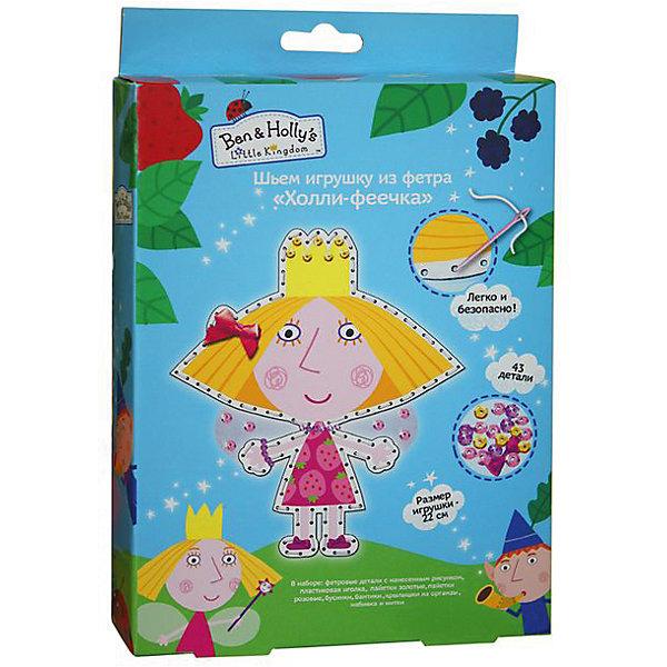 Шьем игрушку из фетра Холли-феечка, Бен и ХоллиБен и Холли<br>Характеристики товара:<br><br>• комплектация: 2 фетровые детали с нанесенным рисунком и перфорацией для стежков, пластиковая безопасная иголка, пуговка в виде цветочка, бант, бусинки, шнуровка для бус, пайетки, нитки, набивка<br>• размер готовой игрушки: 22 см<br>• упаковка: коробка<br>• возраст: от 5 лет<br>• состав: пластик, текстиль<br>• страна бренда: Россия<br>• страна изготовитель: Китай<br><br>Украсьте фетровые детали блестящими пайетками, а затем сложите их белой стороной внутрь, совмещая контур фигурки. Вденьте нитку в иголку и начните обшивать контур туловища, набивая сначала ручки и ножки. Постепенно наполняйте всю игрушку и, закончив, закрепите нить узелком. Украсьте голову Холли большим бантиком, а башмачки - маленькими, сделайте бусы и браслет. <br><br>В наборе «Холли-феечка» ТМ «Бен и Холли» 43 детали: 2 фетровые детали с нанесенным рисунком и перфорацией для стежков, пластиковая безопасная иголка, пайетки (золотые, розовые), маленькие лиловые бусинки, большие розовые бусинки, шнуровка для бус, 3 бантика из сатина, нитки, крылья из органзы, набивка - 30 г. Детали легко сшиваются безопасной иголкой. Размер готовой игрушки: 22 см. <br><br>Шьем игрушку из фетра Холли-феечка, Бен и Холли, вы можете приобрести в нашем интернет-магазине.<br>Ширина мм: 231; Глубина мм: 170; Высота мм: 40; Вес г: 100; Возраст от месяцев: 60; Возраст до месяцев: 2147483647; Пол: Женский; Возраст: Детский; SKU: 5453385;