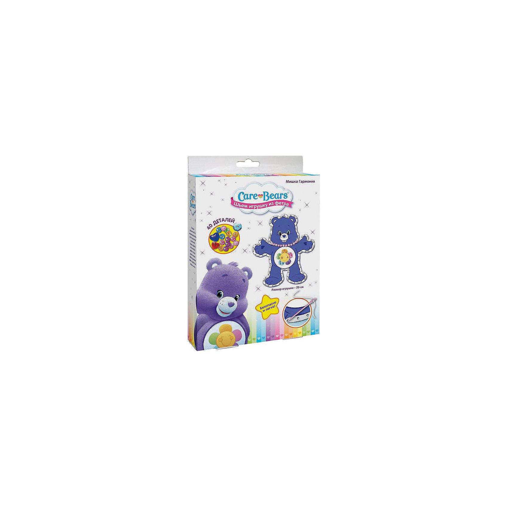 Шьем игрушку из фетра Мишка Гармония, Заботливые мишкиШитьё<br>Характеристики товара:<br><br>• комплектация: 2 фетровые детали с нанесенным рисунком и перфорацией для стежков, пластиковая безопасная иголка, пуговка-носик, пуговка-сердечко, 5 цветов пайеток, набивка, нитки<br>• размер готовой игрушки: 20 см<br>• упаковка: коробка<br>• возраст: от 5 лет<br>• состав: пластик, текстиль<br>• страна бренда: Россия<br>• страна изготовитель: Китай<br><br>Украсьте фетровые детали блестящими пайетками, пришейте глазки и носик, а затем сложите выкройки белой стороной внутрь, совмещая контур фигурки. Вденьте нитку в иголку и начните обшивать контур туловища, набивая сначала ручки и ножки. Постепенно наполняйте всю игрушку и, закончив, закрепите нить узелком. <br><br>В наборе для шитья игрушки из фетра Мишка Гармония TM Care Bears 40 деталей: 2 фетровые детали с нанесенным рисунком и перфорацией для стежков, пластиковая безопасная иголка, пуговка-носик, пуговка-сердечко, 5 цветов пайеток (голубые, розовые, зеленые, оранжевые, фиолетовые), набивка, нитки. Детали легко сшиваются безопасной иголкой. Размер готовой игрушки: 20 см. <br><br>Шьем игрушку из фетра Мишка Гармония, Заботливые мишки, вы можете приобрести в нашем интернет-магазине.<br><br>Ширина мм: 230<br>Глубина мм: 170<br>Высота мм: 40<br>Вес г: 100<br>Возраст от месяцев: 60<br>Возраст до месяцев: 2147483647<br>Пол: Женский<br>Возраст: Детский<br>SKU: 5453386