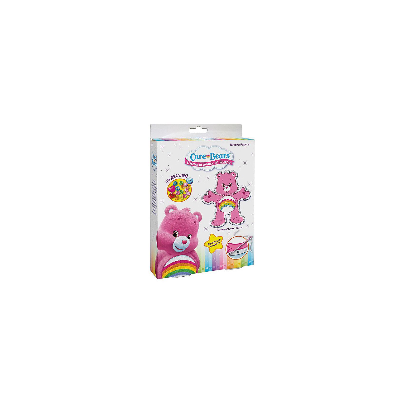 Шьем игрушку из фетра Мишка Радуга, Заботливые мишкиШитьё<br>Характеристики товара:<br><br>• комплектация: 2 фетровые детали с нанесенным рисунком и перфорацией для стежков, пластиковая безопасная иголка, пуговка-носик, пуговка-сердечко, 5 цветов пайеток, набивка, нитки<br>• размер готовой игрушки: 20 см<br>• упаковка: коробка<br>• возраст: от 5 лет<br>• состав: пластик, текстиль<br>• страна бренда: Россия<br>• страна изготовитель: Китай<br><br>Украсьте фетровые детали блестящими пайетками, пришейте глазки и носик, а затем сложите выкройки белой стороной внутрь, совмещая контур фигурки. Вденьте нитку в иголку и начните обшивать контур туловища, набивая сначала ручки и ножки. Постепенно наполняйте всю игрушку и, закончив, закрепите нить узелком. <br><br>В наборе для шитья игрушки из фетра Мишка Радуга TM Care Bears 50 деталей: 2 фетровые детали с нанесенным рисунком и перфорацией для стежков, пластиковая безопасная иголка, пуговка-носик, пуговка-сердечко, 5 цветов пайеток (голубые, розовые, зеленые, оранжевые, желтые), бантик, набивка, нитки. Детали легко сшиваются безопасной иголкой. Размер готовой игрушки: 20 см. <br><br>Шьем игрушку из фетра Мишка Радуга, Заботливые мишки, вы можете приобрести в нашем интернет-магазине.<br><br>Ширина мм: 230<br>Глубина мм: 170<br>Высота мм: 40<br>Вес г: 100<br>Возраст от месяцев: 60<br>Возраст до месяцев: 2147483647<br>Пол: Женский<br>Возраст: Детский<br>SKU: 5453387