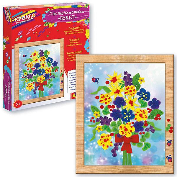Тестопластика Букет, CreattoТесто для лепки<br>Характеристики:<br>• в комплекте: цветное тесто (5 шт.), картинка, стека, клей ПВА, рамка, инструкция;<br>• материал: тесто, картон, пластик, клей;<br>• возраст: от 7 лет;<br>• размер упаковки: 23,5х3х28 см;<br>• вес: 300 грамм.<br><br>Набор «Букет» позволит ребёнку проявить творческие способности и создать прекрасную объёмную картинку, которая станет настоящим украшением детской комнаты.<br><br>В набор входят пять баночек с тестом. Из них нужно слепить необходимые детали, а затем оставить их подсохнуть. Когда детали подсохнут, ребенок сможет приклеить их к основе при помощи клея ПВА. Готовую картинку можно поставить в рамочку.<br><br>Тестопластика развивает художественный вкус, усидчивость, моторику рук и аккуратность.<br><br>Тестопластику Букет, Creatto (Креатто) можно купить в нашем интернет-магазине.<br>Ширина мм: 285; Глубина мм: 235; Высота мм: 30; Вес г: 300; Возраст от месяцев: 60; Возраст до месяцев: 2147483647; Пол: Унисекс; Возраст: Детский; SKU: 5453393;