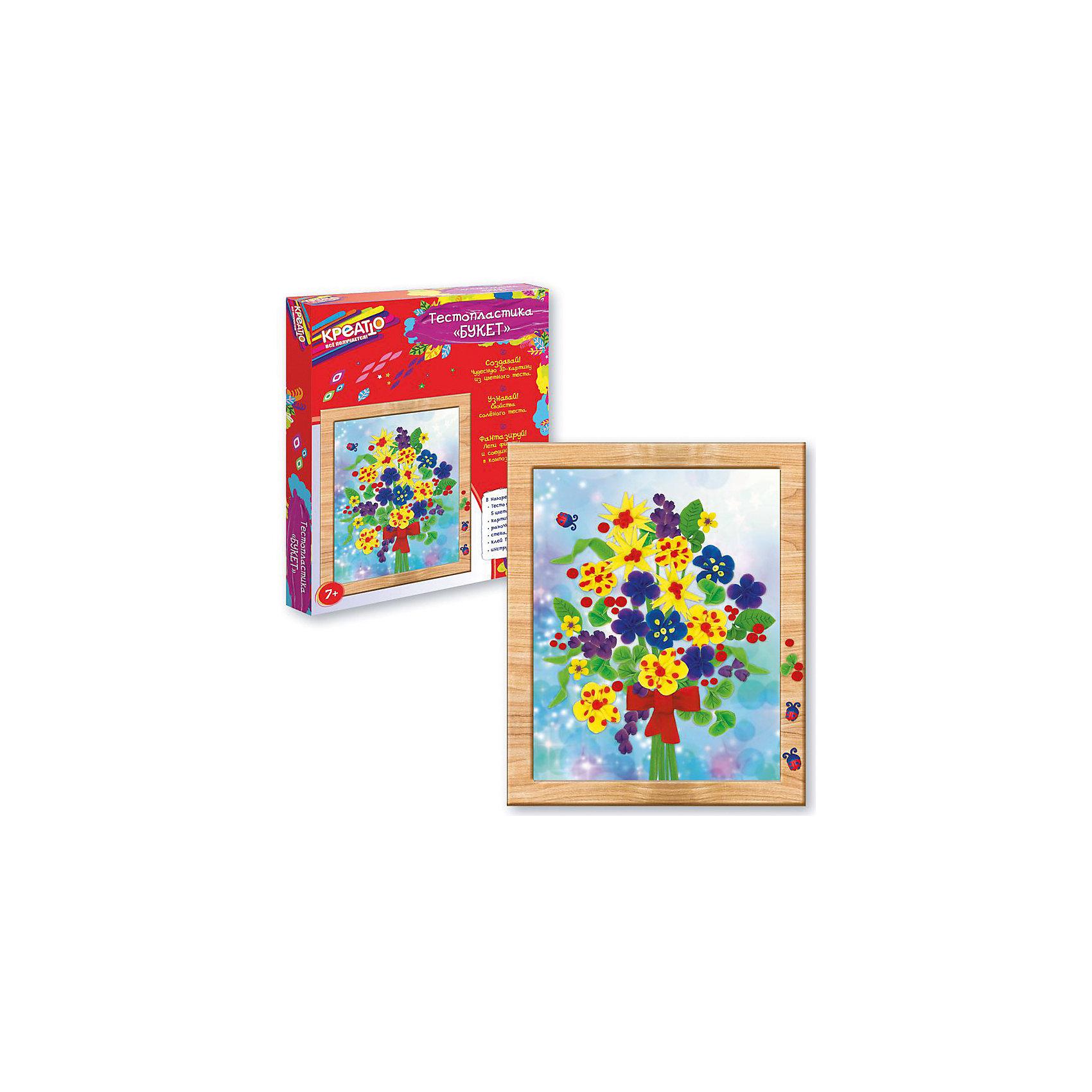 Тестопластика Букет, CreattoЛепка<br>Создайте вместе со своей юной рукодельницей очаровательную цветочную 3D-композицию из мягкого и податливого теста. С помощью подробной инструкции вылепите красивые цветы, листья, стебельки и божьих коровок. Делайте их тонкими, чтобы они быстрее застыли. Высушите заготовки за 5 - 9 часов, наклейте на картинку с помощью ПВА и поместите поделку в рамочку. Восхитительная объемная композиция готова! А во время ее создания активно развиваются мелкая моторика, тактильное восприятие, умение лепить и творческие способности.&#13;<br>В наборе для тестопластики Букет ТМ КРЕАТТО 10 предметов: 5 цветов теста для лепки по 30 г, стека, клей ПВА, карточка, рамочка, подробная инструкция. Мягкое цветное тесто создано специально для детских пальчиков и идеально подходит для лепки: оно очень пластично, не липнет к рукам, не пачкается, застывает на воздухе за несколько часов. Внимание: тесто НЕ пригодно для еды! Товар сертифицирован. Срок годности: 3 года. Упаковка - коробка (28х23х3 см).<br><br>Ширина мм: 285<br>Глубина мм: 235<br>Высота мм: 30<br>Вес г: 300<br>Возраст от месяцев: 60<br>Возраст до месяцев: 2147483647<br>Пол: Унисекс<br>Возраст: Детский<br>SKU: 5453393