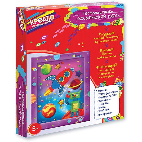 Тестопластика Космический робот, CreattoТесто для лепки<br>Характеристики:<br>• в комплекте: цветное тесто (5 шт.), картинка, стека, клей ПВА, рамка, инструкция;<br>• материал: тесто, картон, пластик, клей;<br>• возраст: от 5 лет;<br>• размер упаковки: 28х23х3 см;<br>• вес: 300 грамм.<br><br>Набор «Космический робот» поможет ребенку создать великолепную картинку с изображением робота в космосе. Картинка изготавливается из теста, а затем клеится к основе. Тесто можно смешивать, чтобы получить новые цвета. Готовую работу можно украсить красивой рамочкой, входящей в комплект.<br><br>Тестопластика поможет развить аккуратность, усидчивость и художественный вкус.<br><br>Тестопластику Космический робот, Creatto (Креатто) можно купить в нашем интернет-магазине.<br>Ширина мм: 220; Глубина мм: 190; Высота мм: 30; Вес г: 270; Возраст от месяцев: 60; Возраст до месяцев: 2147483647; Пол: Унисекс; Возраст: Детский; SKU: 5453397;
