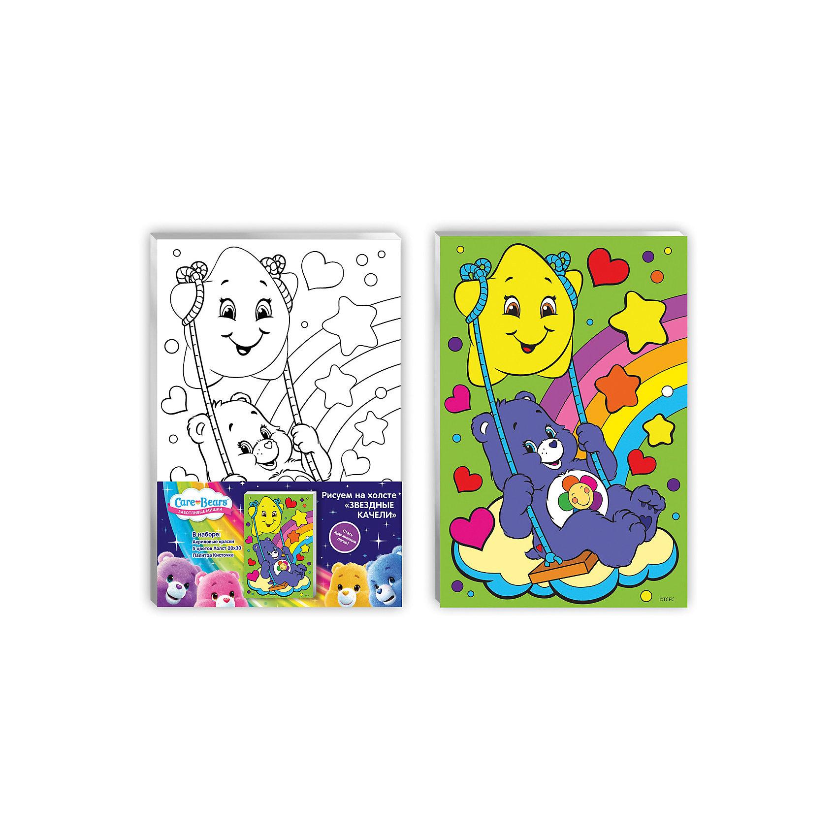 Роспись по холсту Звездные качели, 20*30 см, Заботливые мишкиРисование<br>Характеристики товара:<br><br>• количество цветов: 5 шт.<br>• комплект: акриловые краски, холст, палитра, кисточки<br>• размер картинки: 20х30 см<br>• акриловые краски легко ложатся на холст, быстро сохнут, хорошо растворяются в воде, после высыхания становятся водонепроницаемыми<br>• состав: текстиль, дерево, акрил, металл, пластик<br>• страна бренда: Россия<br>• страна изготовитель: Китай<br><br>В набор для творчества входит все, чтобы создать настоящее произведение искусства своими руками: холст с нанесенными контурами рисунка, краски, палитра, кисточка. Можно раскрасить рисунок по образцу. Смешивая краски, юный художник получит новые цвета и оттенки. Ткань обработана специальным составом, который обеспечивает нанесение красок равномерным слоем.<br><br>Роспись по холсту Звездные качели, 20*30 см, Заботливые мишки, вы можете приобрести в нашем интернет-магазине.<br><br>Ширина мм: 200<br>Глубина мм: 300<br>Высота мм: 150<br>Вес г: 230<br>Возраст от месяцев: 36<br>Возраст до месяцев: 2147483647<br>Пол: Женский<br>Возраст: Детский<br>SKU: 5453434