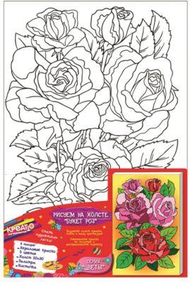 Креатто Роспись по холсту Букет роз , Creatto