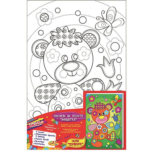 Роспись по холсту Мишутка, CreattoРаскраски по номерам<br>Характеристики товара:<br><br>• количество цветов: 5 шт.<br>• комплект: холст с контурным рисунком, натянутый на деревянную рамку (20х30 см), краски в металлических тубах, палитра, кисточка<br>• размер картинки: 20х30 см<br>• акриловые краски легко ложатся на холст, быстро сохнут, хорошо растворяются в воде, после высыхания становятся водонепроницаемыми<br>• состав: 100% хлопок, картон, пластик<br>• страна бренда: Россия<br>• страна изготовитель: Китай<br><br>В набор для творчества входит все, чтобы создать настоящее произведение искусства своими руками: холст с нанесенными контурами рисунка, краски, палитра, кисточка. Можно раскрасить рисунок по образцу. Смешивая краски, юный художник получит новые цвета и оттенки. Ткань обработана специальным составом, который обеспечивает нанесение красок равномерным слоем. <br><br>Роспись по холсту Мишутка, Creatto, вы можете приобрести в нашем интернет-магазине.<br>Ширина мм: 300; Глубина мм: 200; Высота мм: 150; Вес г: 190; Возраст от месяцев: 36; Возраст до месяцев: 2147483647; Пол: Унисекс; Возраст: Детский; SKU: 5453446;