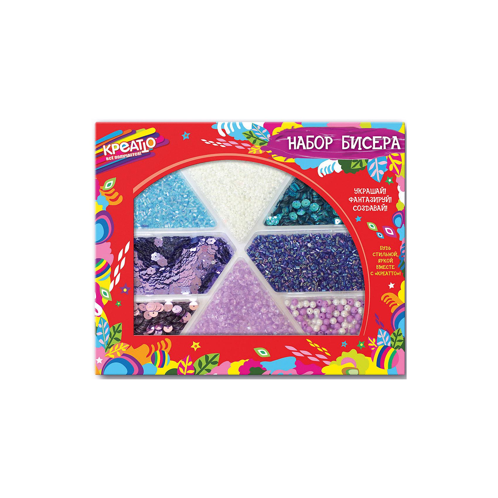 Набор бисера Лавандовое поле, CreattoНаборы для создания украшений<br>Характеристики:<br>• в комплекте: бисер, пайетки, бусины;<br>• материал: пластик;<br>• возраст: от 6 лет;<br>• размер упаковки: 23,5х19,5х2 см.<br><br>Набор «Лавандовое поле» состоит из бисера, пайеток и бусин ярких цветов. Из них девочка сможет создать красивые браслеты, кулончики и многое другое. Кроме того, бусинами и пайетками можно украсить свою одежду, чтобы всегда выглядеть великолепно.<br><br>Все детали находятся в отдельных коробочках, что предотвращает смешивание разных элементов.<br><br>Бисероплетение способствует развитию мелкой моторики, фантазии и творческого мышления.<br><br>Набор бисера Лавандовое поле, Creatto (Креатто) можно купить в нашем интернет-магазине.<br><br>Ширина мм: 235<br>Глубина мм: 145<br>Высота мм: 20<br>Вес г: 220<br>Возраст от месяцев: 36<br>Возраст до месяцев: 2147483647<br>Пол: Унисекс<br>Возраст: Детский<br>SKU: 5453459