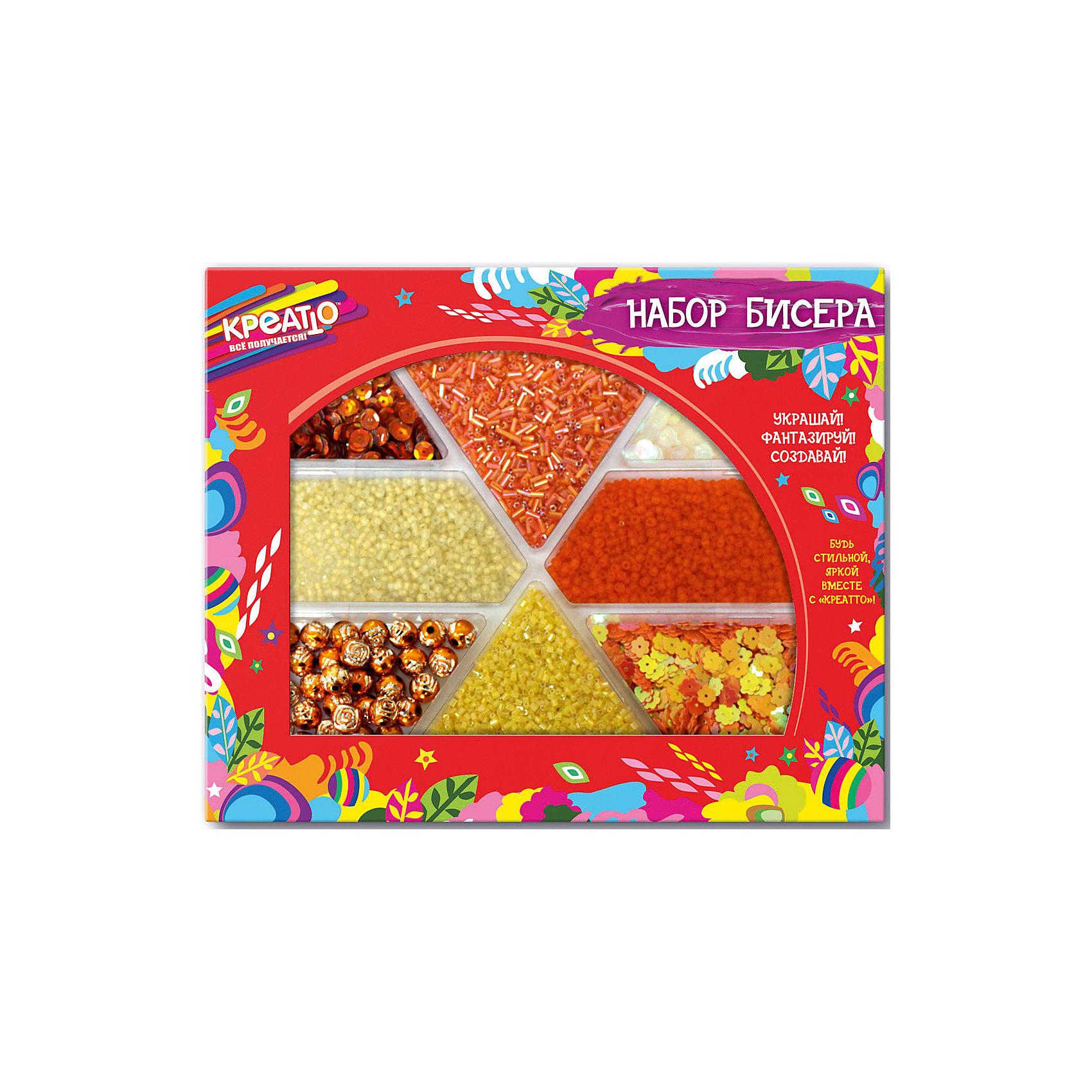 Набор бисера Оранжевое солнце, CreattoНаборы для создания украшений<br>Характеристики:<br>• в комплекте: бисер 8 видов;<br>• материал: пластик, стекло;<br>• возраст: от 6 лет;<br>• размер упаковки: 23,5х19,5х2 см.<br><br>«Оранжевое солнце» - набор для детского творчества. В комплект входят бусины, пайетки и бисер. Воспользовавшись советами на упаковке, девочка сможет украсить свою одежду и создать прекрасные украшения для создания стильного образа.<br><br>Все детали находятся в отдельных коробочках, благодаря чему они не просыпаются.<br><br>Занятия бисероплетением развивают мелкую моторику, воображение и усидчивость.<br><br>Набор бисера Оранжевое солнце, Creatto (Креатто) можно купить в нашем интернет-магазине.<br><br>Ширина мм: 235<br>Глубина мм: 195<br>Высота мм: 20<br>Вес г: 256<br>Возраст от месяцев: 36<br>Возраст до месяцев: 2147483647<br>Пол: Унисекс<br>Возраст: Детский<br>SKU: 5453460