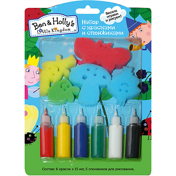 Набор со спонжиками и красками, Бен и ХоллиБен и Холли<br>Характеристики:<br>• в комплекте: краски (6 цветов), 5 спонжей;<br>• размер упаковки: 27х19 см;<br>• возраст: возраст: от 3-х лет;<br>• вес: 200 грамм.<br><br>Набор «Бен и Холли» позволит ребенку проявить творческие способности и создать прекрасные картинки с любимыми персонажами Бен и Холли.<br><br>В набор входят 5 спонжей в виде героев мультфильма и 6 тюбиков с гуашью. Ребенок сможет нарисовать фон, а затем дополнить его отпечатками. Для этого нужно равномерно распределить краску на спонжах и аккуратно прижать спонж к картинке.<br><br>Рисование способствует развитию мелкой моторики, воображения, художественного вкуса.<br><br>Набор со спонжиками и красками, Бен и Холли, Росмэн можно купить в нашем интернет-магазине.<br>Ширина мм: 275; Глубина мм: 190; Высота мм: 17; Вес г: 150; Возраст от месяцев: 36; Возраст до месяцев: 2147483647; Пол: Унисекс; Возраст: Детский; SKU: 5453463;