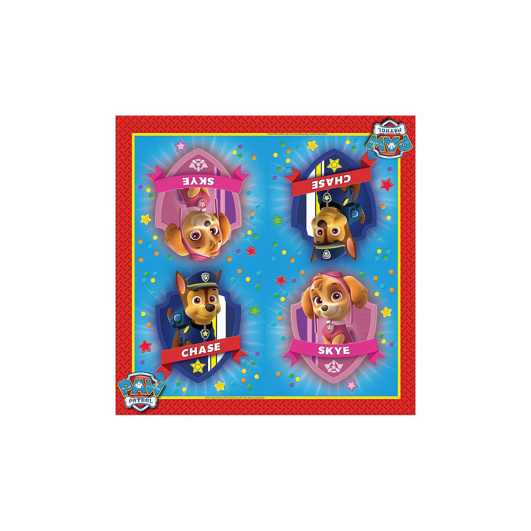 Салфетки 33*33 см, 20 шт., Щенячий патрульВсё для праздника<br>Обучать правилам этикета за столом следует с самого детства. И специально для того, чтобы усваивать суровые нормы поведения было не скучно, а весело и увлекательно, для деток создан набор красочных салфеток с героями мультфильма Щенячий патруль. Яркие и качественные салфетки пригодятся для повседневного использования, а также эффектно украсят праздничный стол во время детского праздника.&#13;<br>В наборе Щенячий патруль 20 бумажных двухслойных салфеток, декорированных ярким, привлекательным принтом. Размер: 33х33 см. Плотность: 18 gsm. Товар сертифицирован. А чтобы украсить детский праздник в единой стилистике, вы также можете выбрать другие товары из данной серии: стаканы, тарелки, язычки, колпаки, маски, приглашение в конверте, скатерть, маски, пакеты, свечи и др.<br><br>Ширина мм: 165<br>Глубина мм: 165<br>Высота мм: 90<br>Вес г: 80<br>Возраст от месяцев: 36<br>Возраст до месяцев: 2147483647<br>Пол: Унисекс<br>Возраст: Детский<br>SKU: 5453478