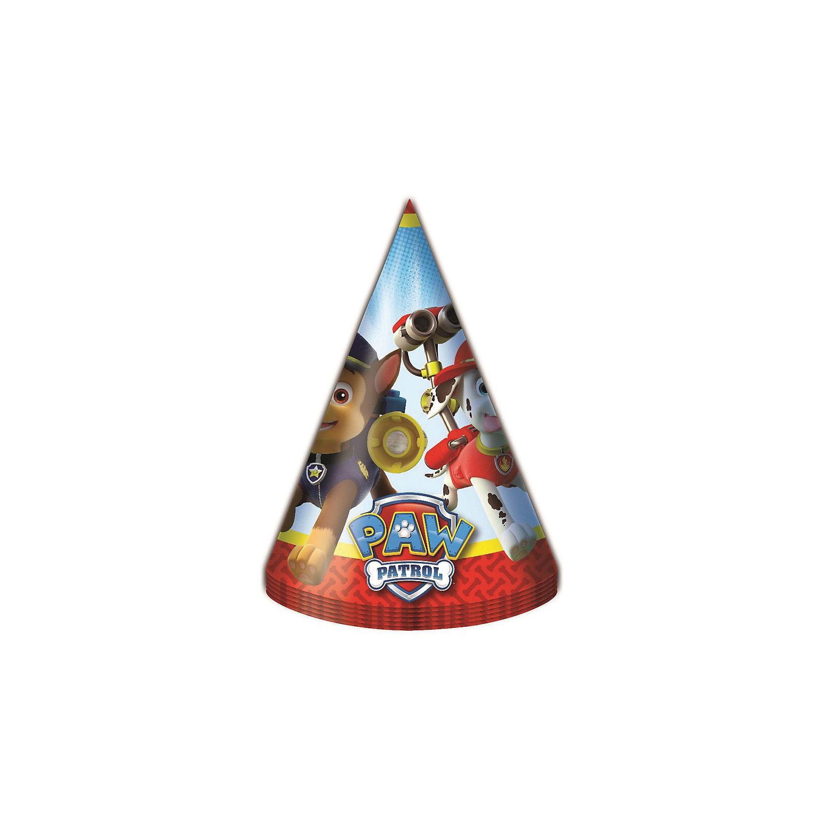 Колпачок 6 шт., Щенячий патрульБумажные колпачки с очаровательными героями мультфильма Щенячий патруль ярко и весело украсят всех гостей детского праздника, поднимут всем настроение и помогут устроить множество забавных игр. А чтобы оформить торжество в едином стиле, вы также можете выбрать из данной серии бумажные стаканы, тарелки, дудочки, язычки, салфетки, полиэтиленовую скатерть, свечи, хлопушку и другое.&#13;<br>В наборе Щенячий патруль 6 бумажных колпаков на резинках с ярким, привлекательным принтом. Товар сертифицирован. Упаковка - пакет с хедером.<br><br>Ширина мм: 170<br>Глубина мм: 103<br>Высота мм: 50<br>Вес г: 60<br>Возраст от месяцев: 36<br>Возраст до месяцев: 2147483647<br>Пол: Унисекс<br>Возраст: Детский<br>SKU: 5453494