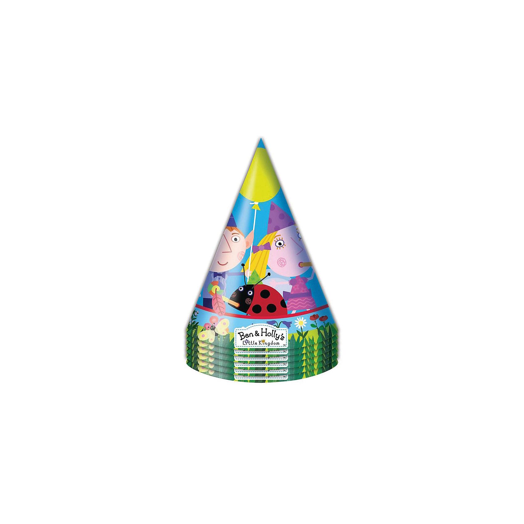 Колпачок 6 шт., Бен и ХоллиВсё для праздника<br>Бумажные колпачки с очаровательными героями мультфильма Ben &amp; Holly ярко и весело украсят всех гостей детского праздника, поднимут всем настроение и помогут устроить множество забавных игр. А чтобы оформить торжество в едином стиле, вы также можете выбрать из данной серии бумажные стаканы, тарелки, дудочки, язычки, салфетки, полиэтиленовую скатерть, свечи, хлопушку и другое.<br><br>Ширина мм: 100<br>Глубина мм: 100<br>Высота мм: 165<br>Вес г: 50<br>Возраст от месяцев: 36<br>Возраст до месяцев: 2147483647<br>Пол: Унисекс<br>Возраст: Детский<br>SKU: 5453495