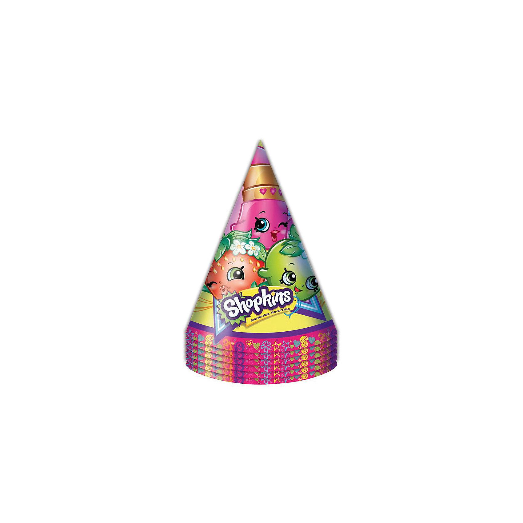 Колпачок 6 шт., ShopkinsShopkins<br>Характеристики товара:<br><br>• комплектация: 6 шт<br>• состав: бумага<br>• яркий принт<br>• упаковка: пакет<br>• страна бренда: Россия<br>• страна изготовитель: Китай<br><br>Бумажные колпачки с очаровательными героями мультфильма Shopkins ярко и весело украсят всех гостей детского праздника, поднимут всем настроение и помогут устроить множество забавных игр. <br><br>Колпачок 6 шт., Shopkins, вы можете приобрести в нашем интернет-магазине.<br><br>Ширина мм: 100<br>Глубина мм: 100<br>Высота мм: 165<br>Вес г: 50<br>Возраст от месяцев: 36<br>Возраст до месяцев: 2147483647<br>Пол: Женский<br>Возраст: Детский<br>SKU: 5453496