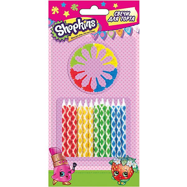 Набор свечей с держателями, 24 шт.*6 см, ShopkinsДетские свечи для торта<br>Характеристики товара:<br><br>• размер одной свечи: 6 см<br>• комплектация: 24 шт<br>• состав: стеарин<br>• упаковка: блистер<br>• страна бренда: Россия<br>• страна изготовитель: Китай<br><br>Праздничный торт с разноцветными свечами создаст у вашего малыша ощущение настоящего праздника! Кроха придет в восторг от забавных огоньков, задувать которые - невероятное удовольствие.<br><br>Набор свечей с держателями, 24 шт,*6 см, Shopkins, вы можете приобрести в нашем интернет-магазине.<br>Ширина мм: 190; Глубина мм: 90; Высота мм: 10; Вес г: 30; Возраст от месяцев: 36; Возраст до месяцев: 2147483647; Пол: Женский; Возраст: Детский; SKU: 5453503;