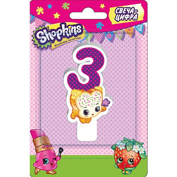 Свеча-цифра 3, 8 см, ShopkinsДетские свечи для торта<br>Характеристики товара:<br><br>• размер: 8 см<br>• состав: стеарин<br>• упаковка: блистер<br>• страна бренда: Россия<br>• страна изготовитель: Китай<br><br>Очаровательная фигурная свеча Цифра 3 с изображением одной из коллекционных игрушек Shopkins мило украсит праздничный тортик в честь дня рождения малютки. Высота свечи из стеарина: 8 см.<br><br>Свечу-цифру 3, 8 см, Shopkins, вы можете приобрести в нашем интернет-магазине.<br><br>Ширина мм: 150<br>Глубина мм: 100<br>Высота мм: 70<br>Вес г: 40<br>Возраст от месяцев: 36<br>Возраст до месяцев: 2147483647<br>Пол: Женский<br>Возраст: Детский<br>SKU: 5453516