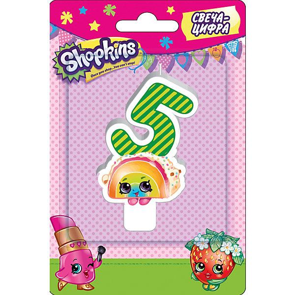 Свеча-цифра 5, 8 см, ShopkinsДетские свечи для торта<br>Характеристики товара:<br><br>• размер: 8 см<br>• состав: стеарин<br>• упаковка: блистер<br>• страна бренда: Россия<br>• страна изготовитель: Китай<br><br>Очаровательная фигурная свеча Цифра 5 с изображением одной из коллекционных игрушек Shopkins мило украсит праздничный тортик в честь дня рождения малютки. Высота свечи из стеарина: 8 см. <br><br>Свечу-цифру 5, 8 см, Shopkins, вы можете приобрести в нашем интернет-магазине.<br>Ширина мм: 150; Глубина мм: 100; Высота мм: 70; Вес г: 40; Возраст от месяцев: 36; Возраст до месяцев: 2147483647; Пол: Женский; Возраст: Детский; SKU: 5453520;