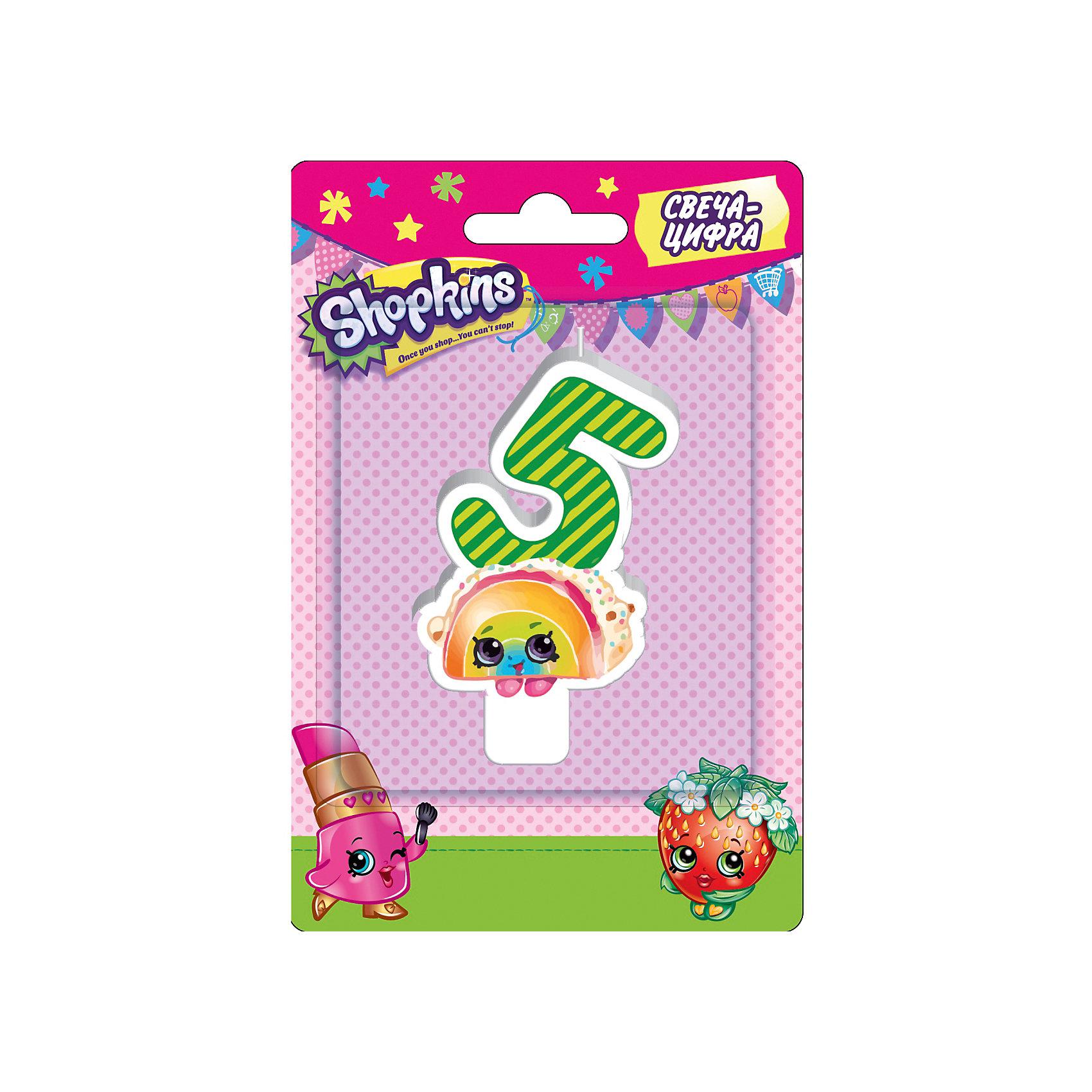 Свеча-цифра 5, 8 см, ShopkinsВсё для праздника<br>Характеристики товара:<br><br>• размер: 8 см<br>• состав: стеарин<br>• упаковка: блистер<br>• страна бренда: Россия<br>• страна изготовитель: Китай<br><br>Очаровательная фигурная свеча Цифра 5 с изображением одной из коллекционных игрушек Shopkins мило украсит праздничный тортик в честь дня рождения малютки. Высота свечи из стеарина: 8 см. <br><br>Свечу-цифру 5, 8 см, Shopkins, вы можете приобрести в нашем интернет-магазине.<br><br>Ширина мм: 150<br>Глубина мм: 100<br>Высота мм: 70<br>Вес г: 40<br>Возраст от месяцев: 36<br>Возраст до месяцев: 2147483647<br>Пол: Женский<br>Возраст: Детский<br>SKU: 5453520