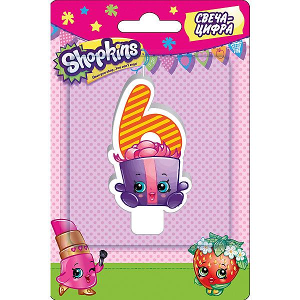 Свеча-цифра 6, 8 см, ShopkinsДетские свечи для торта<br>Характеристики товара:<br><br>• размер: 8 см<br>• состав: стеарин<br>• упаковка: блистер<br>• страна бренда: Россия<br>• страна изготовитель: Китай<br><br>Очаровательная фигурная свеча Цифра 6 с изображением одной из коллекционных игрушек Shopkins мило украсит праздничный тортик в честь дня рождения малютки. Высота свечи из стеарина: 8 см. <br><br>Свечу-цифру 6, 8 см, Shopkins, вы можете приобрести в нашем интернет-магазине.<br>Ширина мм: 150; Глубина мм: 100; Высота мм: 70; Вес г: 40; Возраст от месяцев: 36; Возраст до месяцев: 2147483647; Пол: Женский; Возраст: Детский; SKU: 5453522;