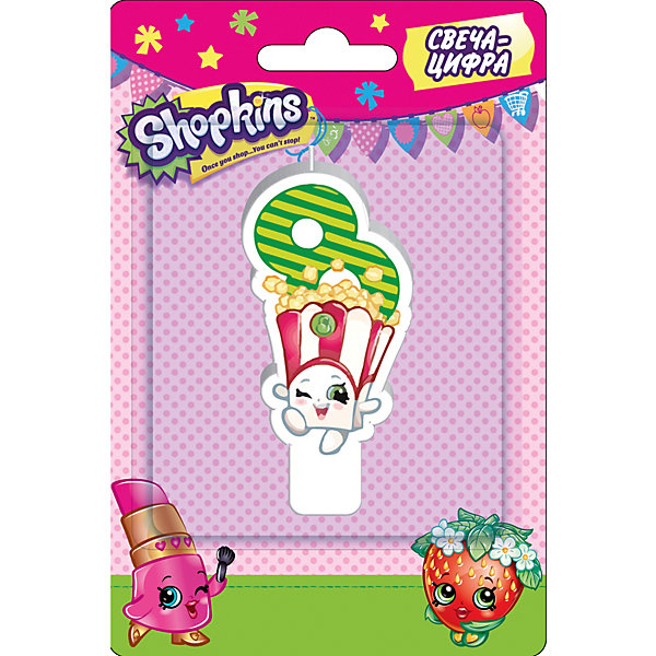 Свеча-цифра 8, 8 см, ShopkinsShopkins<br>Характеристики товара:<br><br>• размер: 8 см<br>• состав: стеарин<br>• упаковка: блистер<br>• страна бренда: Россия<br>• страна изготовитель: Китай<br><br>Очаровательная фигурная свеча Цифра 8 с изображением одной из коллекционных игрушек Shopkins мило украсит праздничный тортик в честь дня рождения малютки. Высота свечи из стеарина: 8 см. <br><br>Свечу-цифру 8, 8 см, Shopkins, вы можете приобрести в нашем интернет-магазине.<br>Ширина мм: 150; Глубина мм: 100; Высота мм: 70; Вес г: 40; Возраст от месяцев: 36; Возраст до месяцев: 2147483647; Пол: Женский; Возраст: Детский; SKU: 5453524;
