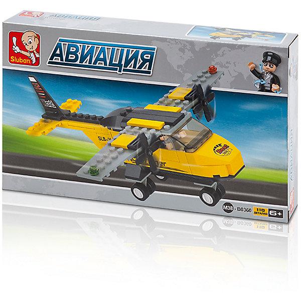 Конструктор Авиация: Вертолёт, 110 деталей, SlubanПластмассовые конструкторы<br>Конструктор Авиация: Вертолёт, 110 деталей, Sluban (Слубан)<br><br>Характеристики:<br><br>• возраст: от 6 лет<br>• реалистичный вертолет<br>• мини-фигурка в комплекте<br>• количество деталей: 110<br>• материал: пластик<br>• размер упаковки: 4,5х14,1х23,7 см<br>• вес: 190 грамм<br><br>Каждому пилоту необходимо транспортное средство для тренировки. С помощью конструктора Sluban ваш ребенок сможет построить тренировочный вертолет, который выглядит довольно реалистично. В комплект из 110 деталей входит фигурка пилота. Его руки и ноги могут сгибаться, чтобы принять необходимую для игры позу.<br><br>Конструктор Авиация: Вертолёт, 110 деталей, Sluban (Слубан) можно купить в нашем интернет-магазине.<br><br>Ширина мм: 237<br>Глубина мм: 141<br>Высота мм: 45<br>Вес г: 190<br>Возраст от месяцев: 72<br>Возраст до месяцев: 2147483647<br>Пол: Мужской<br>Возраст: Детский<br>SKU: 5453681