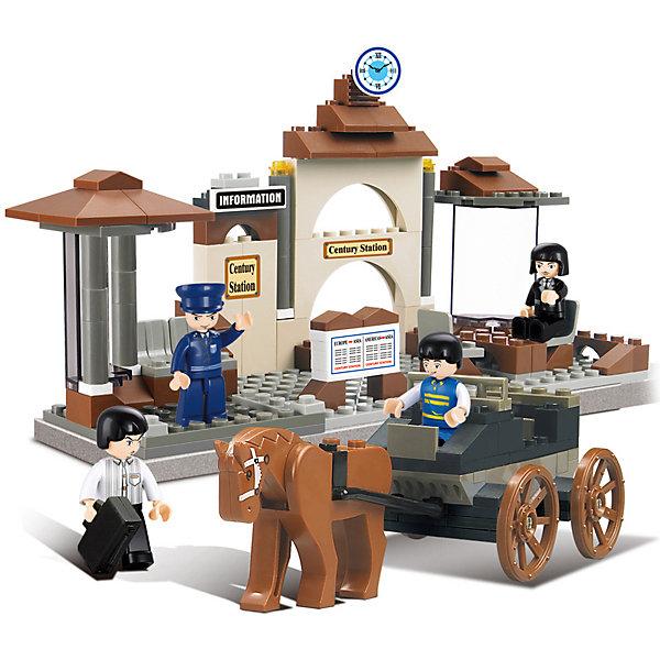 Конструктор Железнодорожный вокзал: Прошлый век, 175 деталей, SlubanПластмассовые конструкторы<br>Конструктор Железнодорожный вокзал: Прошлый век, 175 деталей, Sluban  (Слубан)<br><br>Характеристики:<br><br>• возраст: от 6 лет<br>• копия старинного ж/д вокзала<br>• мини-фигурки в комплекте<br>• количество деталей: 175<br>• материал: пластик<br>• размер упаковки: 5,5х22,5х31 см<br>• вес: 520 грамм<br><br>С конструктором Sluban очень просто перенестись в прошлый век! В набор входят 175 деталей из пластика с четырьмя мини-фигурками. Ребенок сможет построить настоящий железнодорожный вокзал из прошлого века. Здесь есть и здание вокзала, и работники, и даже конная повозка. <br><br>Конструктор Железнодорожный вокзал: Прошлый век, 175 деталей, Sluban (Слубан) вы можете купить в нашем интернет-магазине.<br>Ширина мм: 310; Глубина мм: 225; Высота мм: 55; Вес г: 520; Возраст от месяцев: 72; Возраст до месяцев: 2147483647; Пол: Мужской; Возраст: Детский; SKU: 5453693;