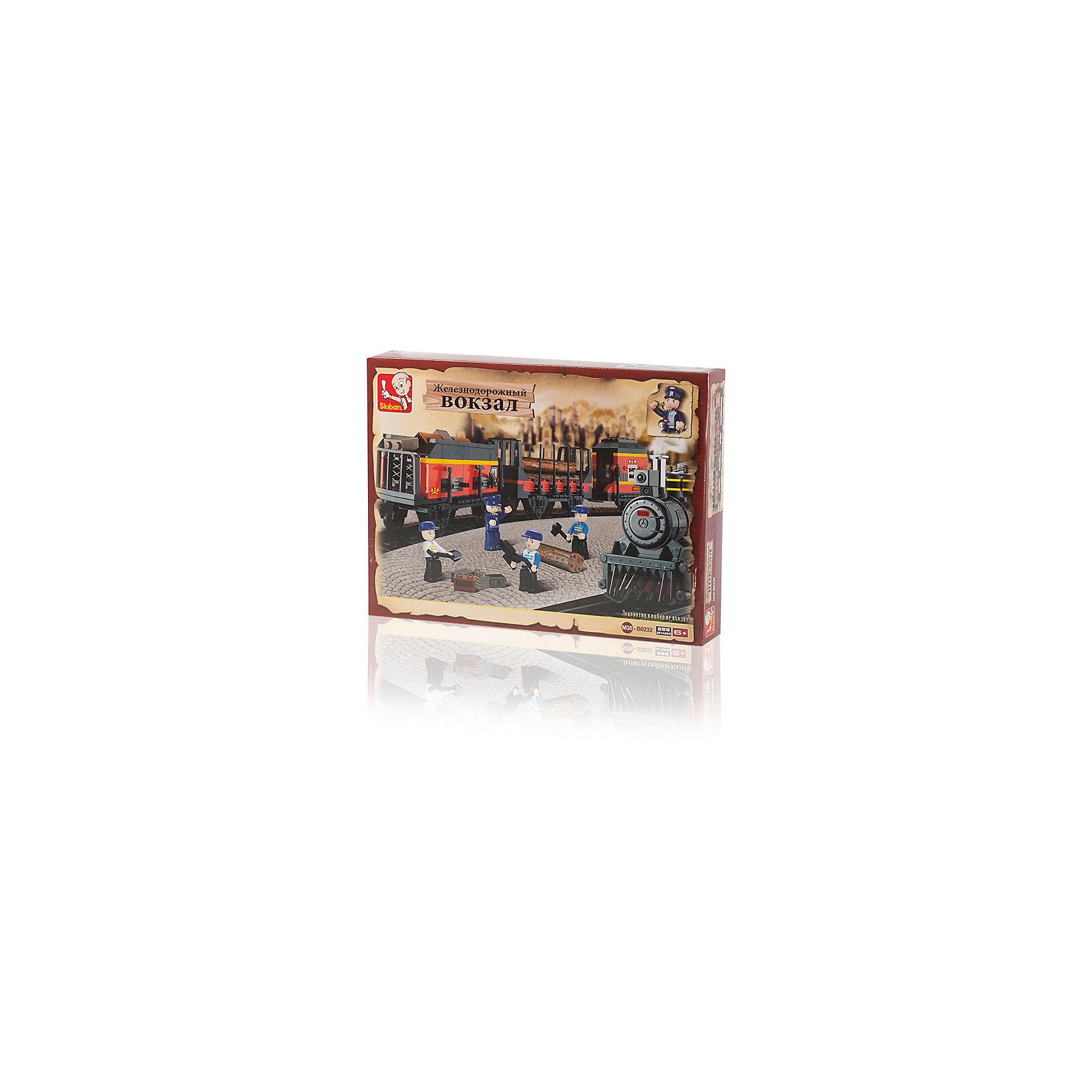 Конструктор Железнодорожный вокзал: Товарный поезд, 255 деталей, SlubanПластмассовые конструкторы<br>Конструктор Железнодорожный вокзал: Товарный поезд, 255 деталей, Sluban (Слубан)<br><br>Характеристики:<br><br>• возраст: от 6 лет<br>• реалистичные поезд из конструктора<br>• мини-фигурки в комплекте<br>• количество деталей: 255<br>• материал: пластик<br>• размер упаковки: 6х26х36 см<br>• вес: 700 грамм<br><br>Конструктор от Sluban изготовлен из высококачественного пластика, безопасного для детей. Собрав детали, ребенок получит очень реалистичный товарный поезд, следующий по железной дороге. В набор входят 4 фигурки рабочих, которые готовы быстро устранить любые неполадки. С таким конструктором ребенок никогда не заскучает!<br><br>Конструктор Железнодорожный вокзал: Товарный поезд, 255 деталей, Sluban (Слубан) можно купить в нашем интернет-магазине.<br><br>Ширина мм: 360<br>Глубина мм: 260<br>Высота мм: 60<br>Вес г: 770<br>Возраст от месяцев: 72<br>Возраст до месяцев: 2147483647<br>Пол: Мужской<br>Возраст: Детский<br>SKU: 5453694