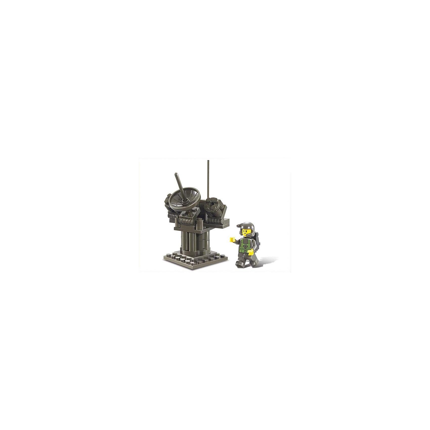 Конструктор Сухопутные войска: РЛС, 44 детали, SlubanПластмассовые конструкторы<br>Конструктор Сухопутные войска: РЛС, 44 детали, Sluban (Слубан)<br><br>Характеристики:<br><br>• возраст: от 6 лет<br>• радиолокационная система<br>• мини-фигурка в комплекте<br>• количество деталей: 44<br>• материал: пластик<br>• размер упаковки: 9х4х12 см<br>• вес: 90 грамм<br><br>Без радиолокационной системы не обходятся ни одни военные действия. Из конструктора Sluban ребенок сможет собрать свою радиолокационную систему, отлично подходящую для любой игры. Военный быстро отследит перемещение противника и справится с поставленной задачей.<br><br>Конструктор Сухопутные войска: РЛС, 44 детали, Sluban (Слубан) вы можете купить в нашем интернет-магазине.<br><br>Ширина мм: 120<br>Глубина мм: 40<br>Высота мм: 90<br>Вес г: 90<br>Возраст от месяцев: 72<br>Возраст до месяцев: 2147483647<br>Пол: Унисекс<br>Возраст: Детский<br>SKU: 5453703