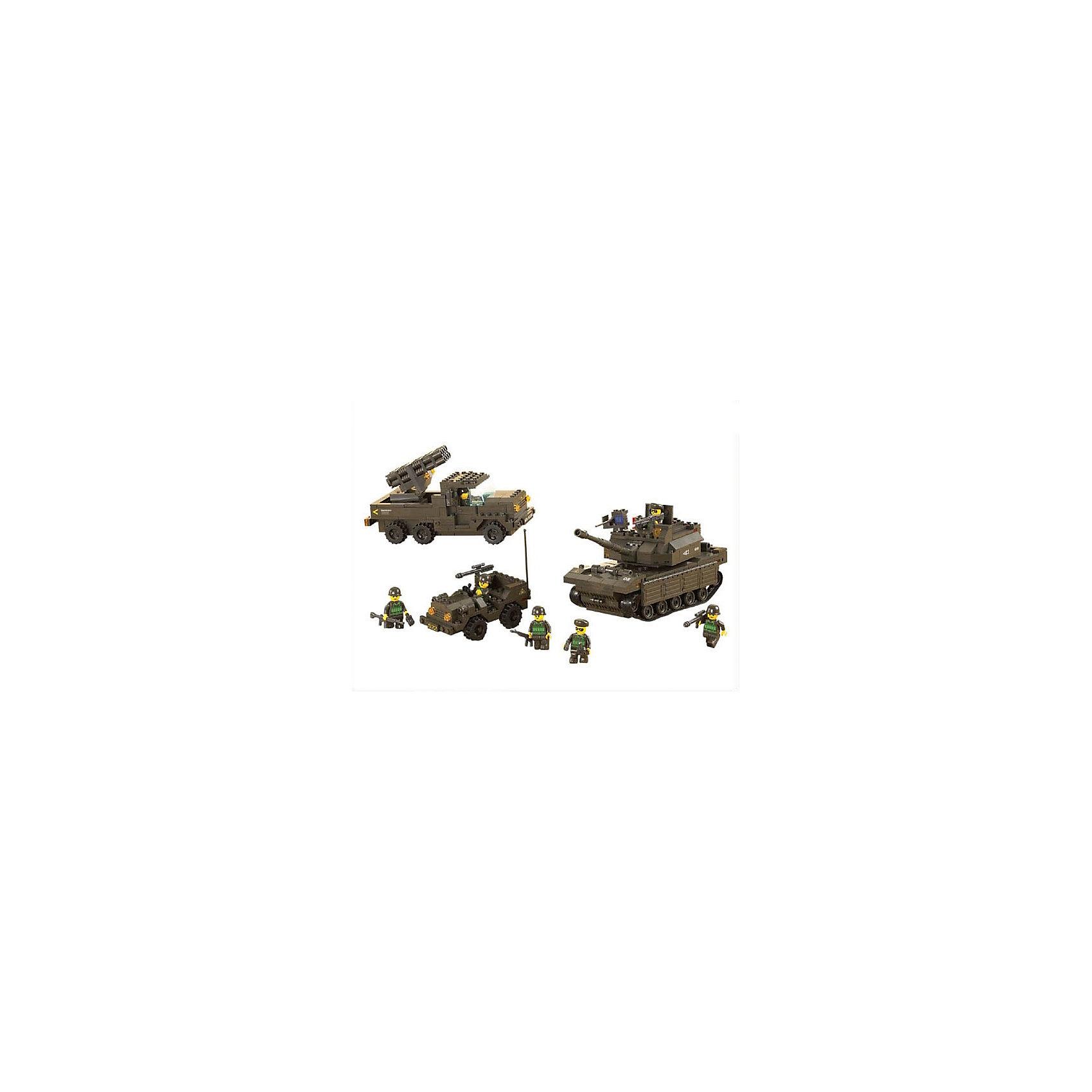 Конструктор Сухопутные войска: Сражение, 602 детали, SlubanПластмассовые конструкторы<br>Конструктор Сухопутные войска: Сражение, 602 детали, Sluban (Слубан)<br><br>Характеристики:<br><br>• возраст: от 6 лет<br>• военная техника и военные<br>• мини-фигурки в комплекте<br>• количество деталей: 602<br>• материал: пластик<br>• размер упаковки: 6х32,5х43 см<br>• вес: 1520 грамм<br><br>Конструктор Сухопутные войска: Сражение отлично подойдет для юных военных. Из 602 деталей ребенок сможет собрать военный джип, танк и ракетную установку. В комплект входят семь фигурок военных. С такой техникой боевые действия пройдут слаженно!<br><br>Конструктор Сухопутные войска: Сражение, 602 детали, Sluban (Слубан) вы можете купить в нашем интернет-магазине.<br><br>Ширина мм: 430<br>Глубина мм: 325<br>Высота мм: 60<br>Вес г: 1520<br>Возраст от месяцев: 72<br>Возраст до месяцев: 2147483647<br>Пол: Мужской<br>Возраст: Детский<br>SKU: 5453705