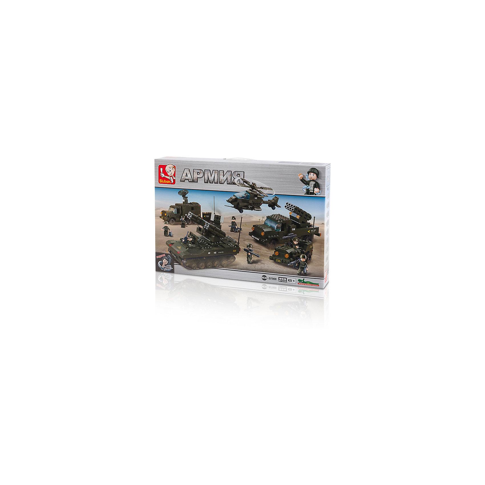 Конструктор Армия: Секретная база, 956 деталей, SlubanПластмассовые конструкторы<br>Конструктор Армия: Секретная база, 956 деталей, Sluban  (Слубан)<br><br>Характеристики:<br><br>• возраст: от 6 лет<br>• вся необходимая военная техника из конструктора<br>• мини-фигурки в комплекте<br>• количество деталей: 956<br>• материал: пластик<br>• размер упаковки: 9х38х57 см<br>• вес: 1870 грамм<br><br>Набор от Sluban - настоящая находка для маленьких военных. Из 956 деталей ребенок сможет самостоятельно построить всю необходимую технику. На секретной базе расположатся транспортеры, вертолет, а также другая техника и 9 военных. Игра с конструктором поможет развить моторику рук, воображение и усидчивость.<br><br>Конструктор Армия: Секретная база, 956 деталей, Sluban (Слубан)  вы можете купить в нашем интернет-магазине.<br><br>Ширина мм: 570<br>Глубина мм: 380<br>Высота мм: 90<br>Вес г: 1870<br>Возраст от месяцев: 72<br>Возраст до месяцев: 2147483647<br>Пол: Мужской<br>Возраст: Детский<br>SKU: 5453716