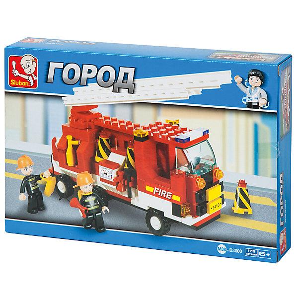 Конструктор Город: Пожарная машина с лестницей, 175 деталей, SlubanПластмассовые конструкторы<br>Конструктор Город: Пожарная машина с лестницей, 175 деталей, Sluban  (Слубан)<br><br>Характеристики:<br><br>• возраст: от 6 лет<br>• пожарная машина из конструктора<br>• 2 фигурки в комплекте<br>• количество деталей: 175<br>• материал: пластик<br>• размер упаковки: 5,4х19х28,5 см<br>• вес: 240 грамм<br><br>Пожарная машина всегда готова спасти людей от пожара! Из конструктора Sluban ребенок сможет собрать пожарную машину с лестницей. В набор входят 2 фигурки пожарных со всеми необходимыми аксессуарами. Конструктор Sluban - настоящий подарок для любителей сюжетно-ролевых игр. Игра с конструктором способствует развитию мелкой моторики, усидчивости и воображения.<br><br>Конструктор Город: Пожарная машина с лестницей, 175 деталей, Sluban (Слубан)  можно купить в нашем интернет-магазине.<br><br>Ширина мм: 285<br>Глубина мм: 190<br>Высота мм: 54<br>Вес г: 240<br>Возраст от месяцев: 72<br>Возраст до месяцев: 2147483647<br>Пол: Мужской<br>Возраст: Детский<br>SKU: 5453730