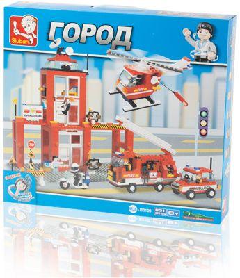 Конструктор Город: Пожарная часть , 631 деталь, Sluban