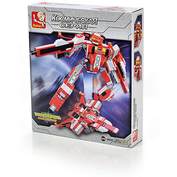Конструктор Космическая серия: Робот-трансформер Железная птица, 331 деталь, SlubanПластмассовые конструкторы<br>Конструктор Космическая серия: Робот-трансформер Железная птица, 331 деталь, Sluban (Слубан)<br><br>Характеристики:<br><br>• возраст: от 6 лет<br>• робот-трансформер/истребитель<br>• количество деталей: 331<br>• материал: пластик<br>• размер упаковки: 6,7х28,5х33 см<br>• вес: 380 грамм<br><br>Робот-трансформер Железная птица очень быстрый и опасный. Он атакует противника своим лазером и трансформируется в истребитель при необходимости. Робот собирается из 331 детали конструктора Sluban. Игра способствует развитию мелкой моторики, внимательности, усидчивости и воображения.<br><br>Конструктор Космическая серия: Робот-трансформер Железная птица, 331 деталь, Sluban (Слубан) вы можете купить в нашем интернет-магазине.<br>Ширина мм: 330; Глубина мм: 285; Высота мм: 67; Вес г: 380; Возраст от месяцев: 72; Возраст до месяцев: 2147483647; Пол: Мужской; Возраст: Детский; SKU: 5453755;