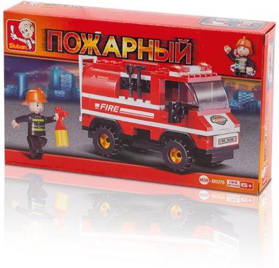 Конструктор Пожарный: Пожарная машина с лестницей , 133 детали, Sluban