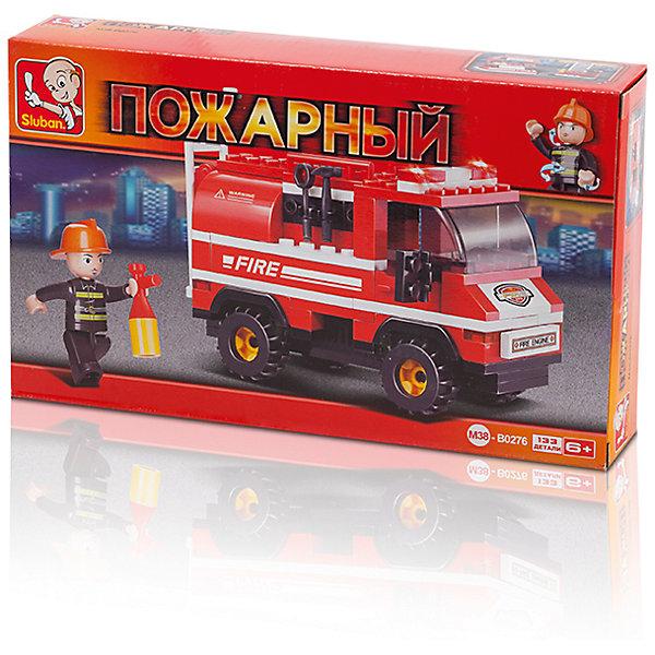 Конструктор Пожарный: Пожарная машина с лестницей, 133 детали, SlubanПластмассовые конструкторы<br>Конструктор Пожарный: Пожарная машина с лестницей, 133 детали, Sluban (Слубан)<br><br>Характеристики:<br><br>• возраст: от 6 лет<br>• пожарная машина из конструктора<br>• количество деталей: 133<br>• количество фигурок: 1<br>• материал: пластик<br>• размер упаковки: 4,5х14,1х23,7 см<br>• вес: 230 грамм<br><br>Чтобы спасти людей от пожара, нужна пожарная машина с лестницей. С набором от Sluban ребенок сможет собрать нужный транспорт. А с фигуркой пожарного, входящей в комплект, можно придумать самую захватывающую спасательную операцию. Игра способствует развитию моторики рук, воображения и усидчивости.<br><br>Конструктор Пожарный: Пожарная машина с лестницей, 133 детали, Sluban (Слубан) вы можете купить в нашем интернет-магазине.<br>Ширина мм: 237; Глубина мм: 141; Высота мм: 45; Вес г: 230; Возраст от месяцев: 72; Возраст до месяцев: 2147483647; Пол: Мужской; Возраст: Детский; SKU: 5453765;