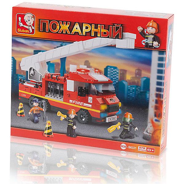 Конструктор Пожарный: Пожарная машина с лестницей, 270 деталей, SlubanПластмассовые конструкторы<br>Конструктор Пожарный: Пожарная машина с лестницей, 270 деталей, Sluban (Слубан)<br><br>Характеристики:<br><br>• возраст: от 6 лет<br>• пожарная машина и инструменты из конструктора<br>• количество деталей: 270<br>• количество фигурок: 3<br>• материал: пластик<br>• размер упаковки: 6,7х28,5х33 см<br>• вес: 590 грамм<br><br>Чтобы спасти людей от пожара, нужна пожарная машина с лестницей. С набором от Sluban ребенок сможет собрать нужный транспорт и необходимые инструменты. А с фигурками спасателей, входящих в комплект, можно придумать самую захватывающую спасательную операцию. Игра способствует развитию моторики рук, воображения и усидчивости.<br><br>Конструктор Пожарный: Пожарная машина с лестницей, 270 деталей, Sluban (Слубан) можно купить в нашем интернет-магазине.<br><br>Ширина мм: 330<br>Глубина мм: 285<br>Высота мм: 67<br>Вес г: 590<br>Возраст от месяцев: 72<br>Возраст до месяцев: 2147483647<br>Пол: Мужской<br>Возраст: Детский<br>SKU: 5453766