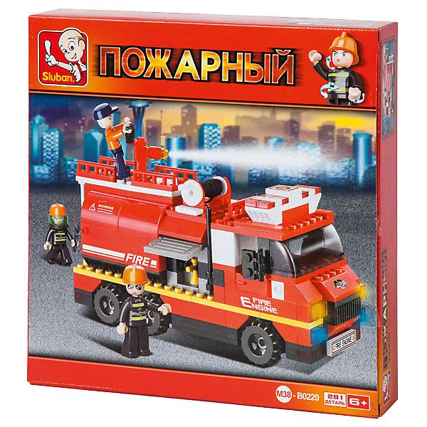 Конструктор Пожарный: Пожарная машина, 281 деталь, SlubanПластмассовые конструкторы<br>Конструктор Пожарный: Пожарная машина, 281 деталь, Sluban (Слубан)<br><br>Характеристики:<br><br>• возраст: от 6 лет<br>• пожарная машина с цистерной и водяной пушкой из конструктора<br>• количество деталей: 281<br>• количество фигурок: 3<br>• материал: пластик<br>• размер упаковки: 5,4х28,5х28,5 см<br>• вес: 510 грамм<br><br>Команда смелых спасателей не боится ничего, ведь у них есть машина с цистерной и водяной пушкой. А для того, чтобы собрать машину, ребенку необходимо соединить 281 деталь конструктора Sluban. С фигурками можно придумать интересные сюжетно-ролевые игры. Такой конструктор помогает развить мелкую моторику, воображение и усидчивость.<br><br>Конструктор Пожарный: Пожарная машина, 281 деталь, Sluban (Слубан) можно купить в нашем интернет-магазине.<br>Ширина мм: 285; Глубина мм: 285; Высота мм: 54; Вес г: 510; Возраст от месяцев: 72; Возраст до месяцев: 2147483647; Пол: Мужской; Возраст: Детский; SKU: 5453767;