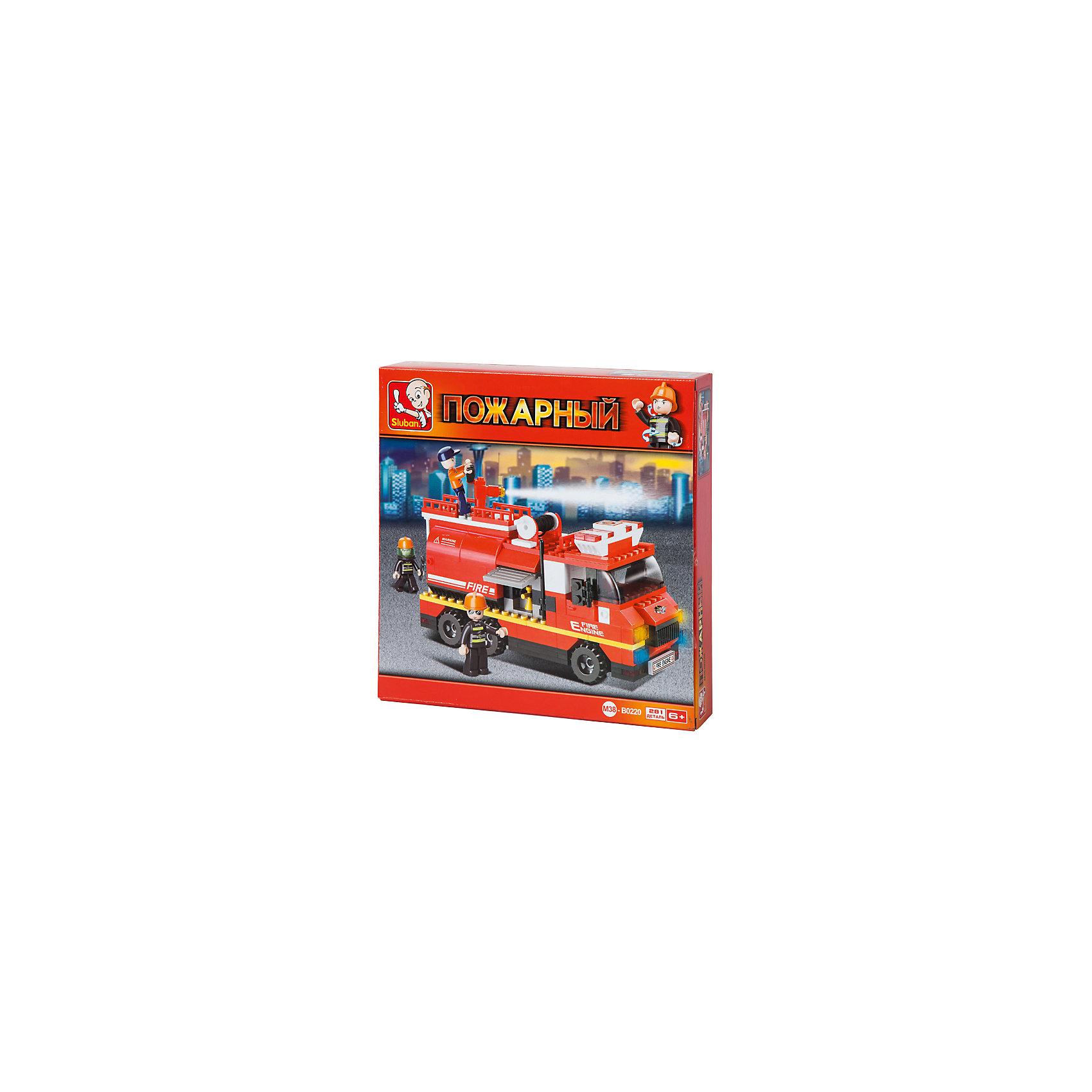 Конструктор Пожарный: Пожарная машина, 281 деталь, SlubanПластмассовые конструкторы<br>Конструктор Пожарный: Пожарная машина, 281 деталь, Sluban (Слубан)<br><br>Характеристики:<br><br>• возраст: от 6 лет<br>• пожарная машина с цистерной и водяной пушкой из конструктора<br>• количество деталей: 281<br>• количество фигурок: 3<br>• материал: пластик<br>• размер упаковки: 5,4х28,5х28,5 см<br>• вес: 510 грамм<br><br>Команда смелых спасателей не боится ничего, ведь у них есть машина с цистерной и водяной пушкой. А для того, чтобы собрать машину, ребенку необходимо соединить 281 деталь конструктора Sluban. С фигурками можно придумать интересные сюжетно-ролевые игры. Такой конструктор помогает развить мелкую моторику, воображение и усидчивость.<br><br>Конструктор Пожарный: Пожарная машина, 281 деталь, Sluban (Слубан) можно купить в нашем интернет-магазине.<br><br>Ширина мм: 285<br>Глубина мм: 285<br>Высота мм: 54<br>Вес г: 510<br>Возраст от месяцев: 72<br>Возраст до месяцев: 2147483647<br>Пол: Мужской<br>Возраст: Детский<br>SKU: 5453767