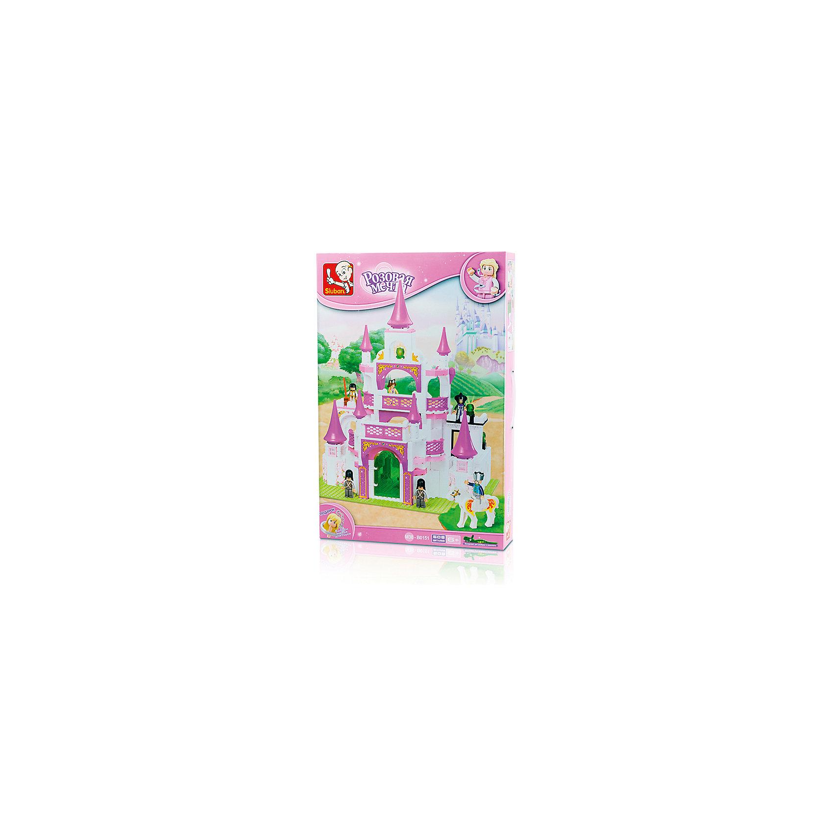 Конструктор Розовая мечта: Спасение принцессы, 508 деталей, SlubanПластмассовые конструкторы<br>Конструктор Розовая мечта: Спасение принцессы, 508 деталей, Sluban (Слубан)<br><br>Характеристики:<br><br>• возраст: от 6 лет<br>• замок<br>• количество деталей: 508<br>• количество фигурок: 6<br>• материал: пластик<br>• размер упаковки: 9х38х57 см<br>• вес: 1750 грамм<br><br>Конструктор Розовая мечта: Спасение принцессы - настоящий подарок для девочек. Он состоит из 508 деталей, собрав которые девочка увидит роскошный замок, достойный принцессы. В комплект входят 6 фигурок, с которыми можно придумать интересную игру. Игра с сюжетно-ролевым конструктором способствует развитию моторики рук, воображения и внимательности.<br><br>Конструктор Розовая мечта: Спасение принцессы, 508 деталей, Sluban (Слубан) вы можете купить в нашем интернет-магазине.<br><br>Ширина мм: 570<br>Глубина мм: 380<br>Высота мм: 90<br>Вес г: 1750<br>Возраст от месяцев: 72<br>Возраст до месяцев: 2147483647<br>Пол: Женский<br>Возраст: Детский<br>SKU: 5453784