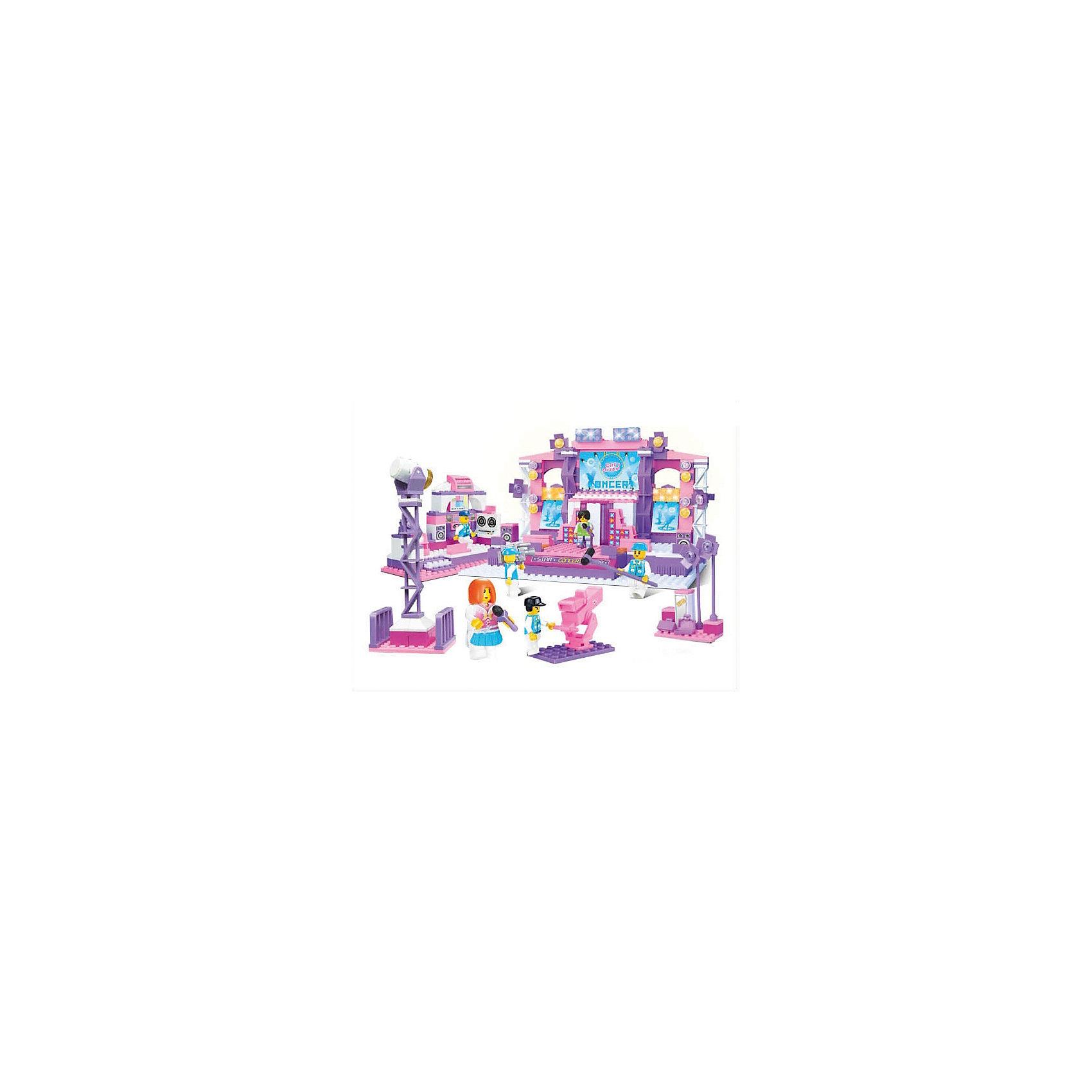 Конструктор Розовая мечта: Звёздный концерт, 430 деталей, SlubanПластмассовые конструкторы<br>Конструктор Розовая мечта: Звёздный концерт, 430 деталей, Sluban (Слубан)<br><br>Характеристики:<br><br>• возраст: от 6 лет<br>• сцена и телевизионная площадка из конструктора<br>• количество деталей: 430<br>• количество фигурок: 6<br>• материал: пластик<br>• размер упаковки:6х32,5х43 см<br>• вес: 1380 грамм<br><br>Конструктор Розовая мечта: Звёздный концерт от Sluban состоит из 6 фигурок и 430 деталей. Из них можно собрать сцену, телевизионную площадку, а потом устроить грандиозный концерт! Телеведущие и операторы непременно будут освещать это событие. Игра способствует развитию воображения, мелкой моторики и логического мышления.<br><br>Конструктор Розовая мечта: Звёздный концерт, 430 деталей, Sluban (Слубан) вы можете купить в нашем интернет-магазине.<br><br>Ширина мм: 430<br>Глубина мм: 325<br>Высота мм: 60<br>Вес г: 1380<br>Возраст от месяцев: 72<br>Возраст до месяцев: 2147483647<br>Пол: Женский<br>Возраст: Детский<br>SKU: 5453788