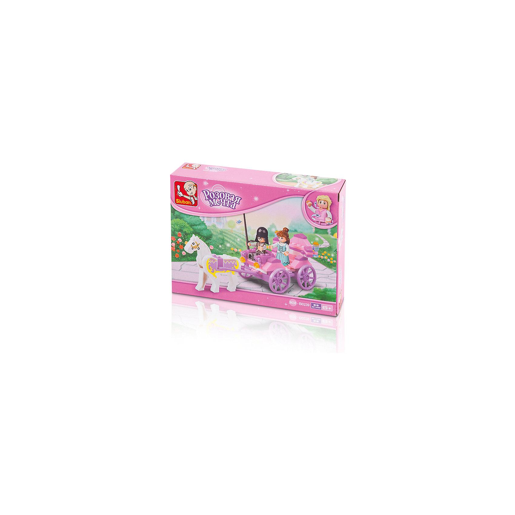 Конструктор Розовая мечта: Карета принцессы, 99 деталей, SlubanПластмассовые конструкторы<br>Конструктор Розовая мечта: Карета принцессы, 99 деталей, Sluban (Слубан)<br><br>Характеристики:<br><br>• возраст: от 6 лет<br>• карета принцессы из конструктора<br>• количество деталей: 99<br>• количество фигурок: 2<br>• материал: пластик<br>• размер упаковки: 4,5х14,1х19 см<br>• вес: 140 грамм<br><br>Юная принцесса хочет гулять. Нужно срочно собрать для нее карету! Из конструктора Sluban девочка сможет собрать роскошную карету и лошадь. Фигурки принцессы и кучера можно использовать для сюжетно-ролевых игр. Игра развивает мелкую моторику, фантазию и логическое мышление.<br><br>Конструктор Розовая мечта: Карета принцессы, 99 деталей, Sluban (Слубан) вы можете купить в нашем интернет-магазине.<br><br>Ширина мм: 190<br>Глубина мм: 141<br>Высота мм: 45<br>Вес г: 140<br>Возраст от месяцев: 72<br>Возраст до месяцев: 2147483647<br>Пол: Женский<br>Возраст: Детский<br>SKU: 5453792
