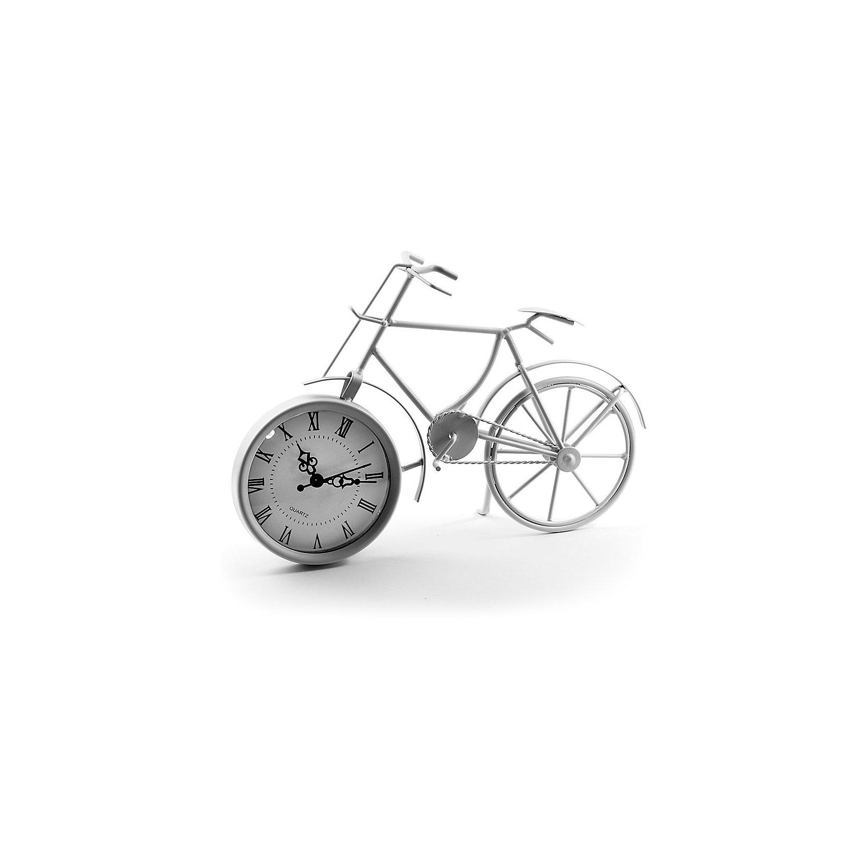Часы Miralight настольные Велосипед белый, Яркий праздникПредметы интерьера<br>Часы Miralight настольные Велосипед белый, Яркий праздник<br><br>Характеристики:<br><br>• Состав: металл<br>• Размер: 29 * 8,5 * 20,5 см.<br>• Элементы питания: батарейки<br>• Страна производитель: Китай<br><br>Изящные часы от компании Miralight (Миралайт), которая специализируется на продукции для интерьеров привнесут уют в ваш дом. Настольные часы станут стильным украшением комнаты и помогут всегда быть вовремя. Лаконичный белый цвет отлично подойдет как для спальни, так и для кухни или гостиной. <br><br>Элегантные римские цифры и три ажурные стрелочки отлично подходят этим часам. Небольшие металлические части велосипеда соединяются между собой и надежно фиксируют циферблат, представляющий собой ведущее колесо, сам велосипед стоит на подножке, как у настоящего велосипеда. Привнесите в свой дом атмосферу комфорта и яркого праздника вместе с новыми часами!<br><br>Часы Miralight настольные Велосипед белый, Яркий праздник можно купить в нашем интернет-магазине.<br><br>Ширина мм: 290<br>Глубина мм: 85<br>Высота мм: 205<br>Вес г: 306<br>Возраст от месяцев: 36<br>Возраст до месяцев: 2147483647<br>Пол: Унисекс<br>Возраст: Детский<br>SKU: 5453958