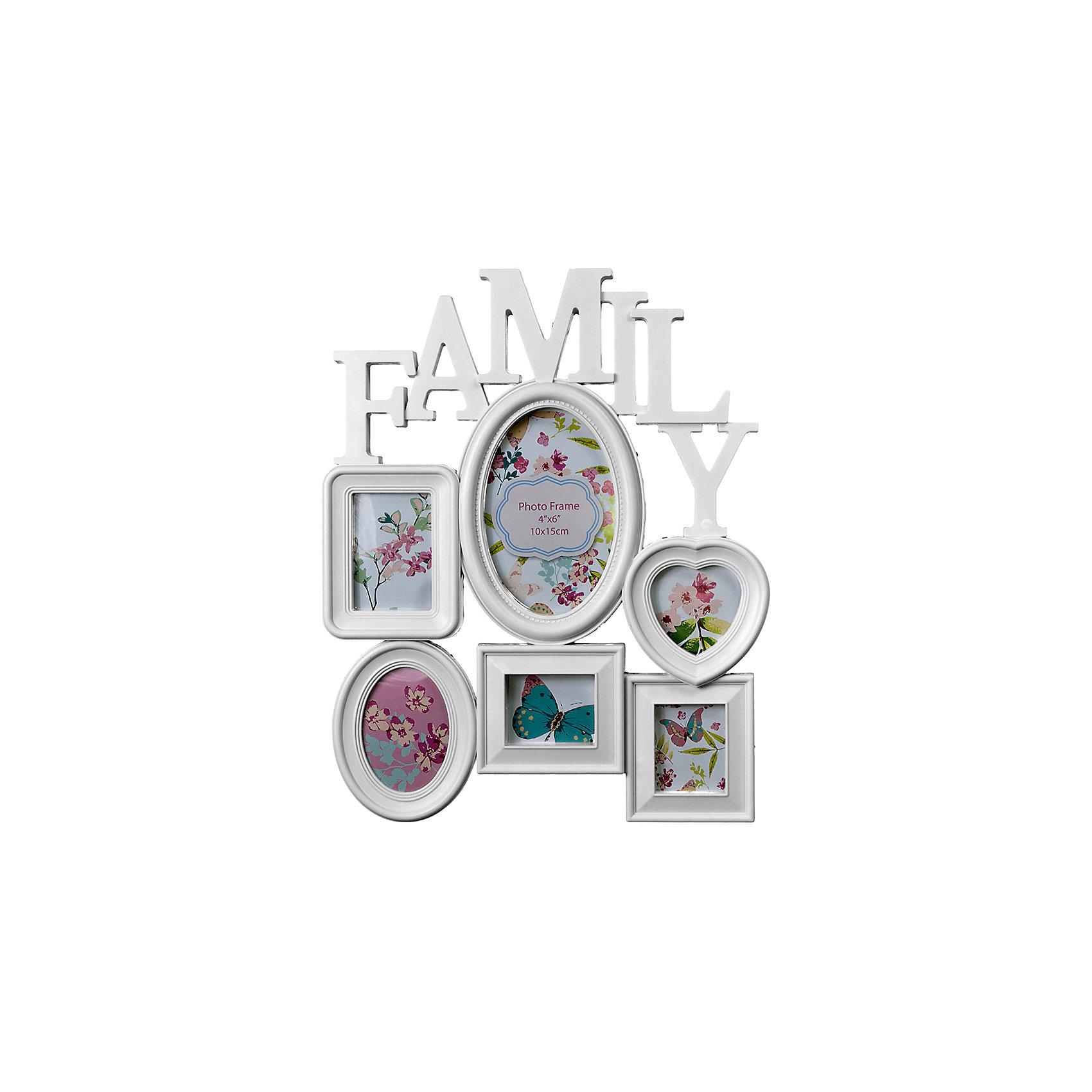 Фоторамка Platinum Family, пластик, белая, Яркий праздникПредметы интерьера<br>Фоторамка Platinum Family, пластик, белая, Яркий праздник<br><br>Характеристики:<br><br>• Состав: пластик<br>• Размер: 37 * 3 * 30 см.<br>• Размер фотографий: 10 * 15 см., 6 * 9 см., 7 * 7 см., 5 * 7 см.<br>• Страна производитель: Китай<br><br>Изящная подвесная фоторамка включает в себя целых шесть рамок от компании, специализирующейся на производстве фоторамок для интерьеров Platinum (Платинум), и оживит сразу несколько воспоминаний! Фоторамки станут стильным украшением комнаты, а классический белый цвет отлично подойдет как для спальни, так и для кухни или гостиной. Фоторамки оригинально расположены и отлично подойдут для серии тематических снимков. <br><br>В набор фоторамок входит вертикальная стандартная рамка 10 * 15 см, две небольшие рамки 6 * 9 см, рамка для квадратного снимка размером 7 * 7 см. и две маленькие рамки 5 * 7 см, созданные специально для каждого вашего любимого кадра. Стилизация коллажа сочетается с надписью на английском языке Семья. Фоторамка станет превосходным подарком для любого важного события от дня рождения до новоселья. Привнесите в дом атмосферу комфорта и яркого праздника вместе с новой фоторамкой!<br><br>Фоторамку Platinum Family, пластик, белую, Яркий праздник можно купить в нашем интернет-магазине.<br><br>Ширина мм: 370<br>Глубина мм: 48<br>Высота мм: 300<br>Вес г: 380<br>Возраст от месяцев: 36<br>Возраст до месяцев: 2147483647<br>Пол: Унисекс<br>Возраст: Детский<br>SKU: 5453982