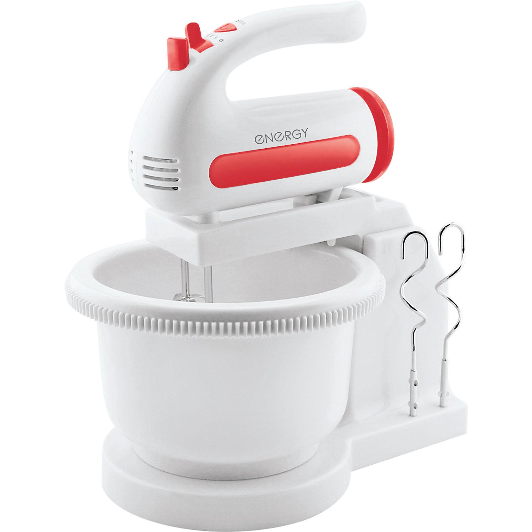 Миксер EN-273 с чашей, ENERGYБытовая техника для кухни<br>Миксер EN-273 с чашей, ENERGY (Энерджи)<br><br>Характеристики:<br><br>• вращающаяся чаша<br>• 5 скоростей<br>• кнопка для отсоединения насадок<br>• режим Турбо<br>• две пары венчиков ( для взбивания и замешивания теста)<br>• отверстия для хранения насадок<br>• объем чаши - 1,5 л<br>• мощность: 200 Вт<br><br>Стационарный миксер EN-273 станет незаменимым помощником на кухне. Миксер с вращающейся чашей позволит вам заниматься своими делами, пока готовится тесто, крем или другие продукты. В комплект входят две пары венчиков. Первая пара предназначена для взбивания, а вторая для замешивания теста. Основание миксера оснащено специальными отверстиями для хранения неиспользуемых венчиков. Миксер имеет 5 скоростей, режим Турбо. Объем чаши составляет 1,5 литра. С этим миксером вы сможете значительно облегчить процесс приготовления блюд.<br><br>Миксер EN-273 с чашей, ENERGY (Энерджи) вы можете купить в нашем интернет-магазине.<br><br>Ширина мм: 330<br>Глубина мм: 240<br>Высота мм: 200<br>Вес г: 1647<br>Возраст от месяцев: 216<br>Возраст до месяцев: 1188<br>Пол: Унисекс<br>Возраст: Детский<br>SKU: 5454013