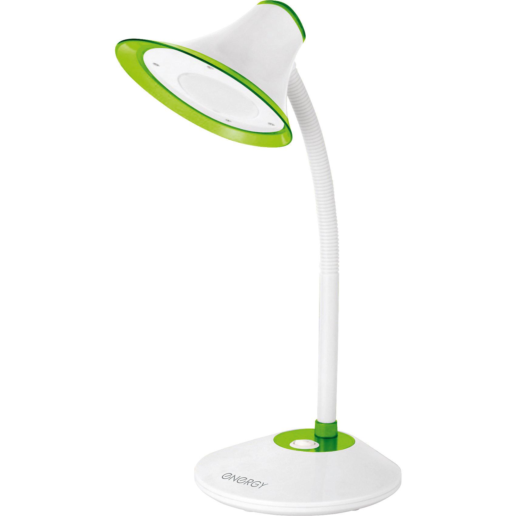 Лампа электрическая настольная EN-LED20, ENERGY, бело-зеленаяЛампы, ночники, фонарики<br>Лампа электрическая настольная EN-LED20, ENERGY (Энерджи), бело-зеленая<br><br>Характеристики:<br><br>• современный дизайн<br>• светодиодная лампа<br>• световой поток: 420 лм<br>• мощность: 5 Вт<br>• длина шнура: 1,5 м<br>• цвет: белый/зеленый<br>• материал: пластик, металл<br><br>Настольная лампа - важный атрибут для полноценной учебы. В темное время электрическая лампа EN-LED20 поможет вам заниматься своими делами, не беспокоя близких. Светодиодные лампы обеспечивают полноценное освещение. EN-LED20 имеет лаконичный дизайн, который будет хорошо смотреться на любом письменном столе. Длина шнура составляет 1,5 метра, что позволит вам установить лампу достаточно далеко от розетки. Мощность - 5 Вт.<br><br>Лампу электрическую настольную EN-LED20, ENERGY (Энерджи), бело-зеленую вы можете купить в нашем интернет-магазине.<br><br>Ширина мм: 160<br>Глубина мм: 160<br>Высота мм: 220<br>Вес г: 908<br>Возраст от месяцев: 216<br>Возраст до месяцев: 1188<br>Пол: Унисекс<br>Возраст: Детский<br>SKU: 5454017