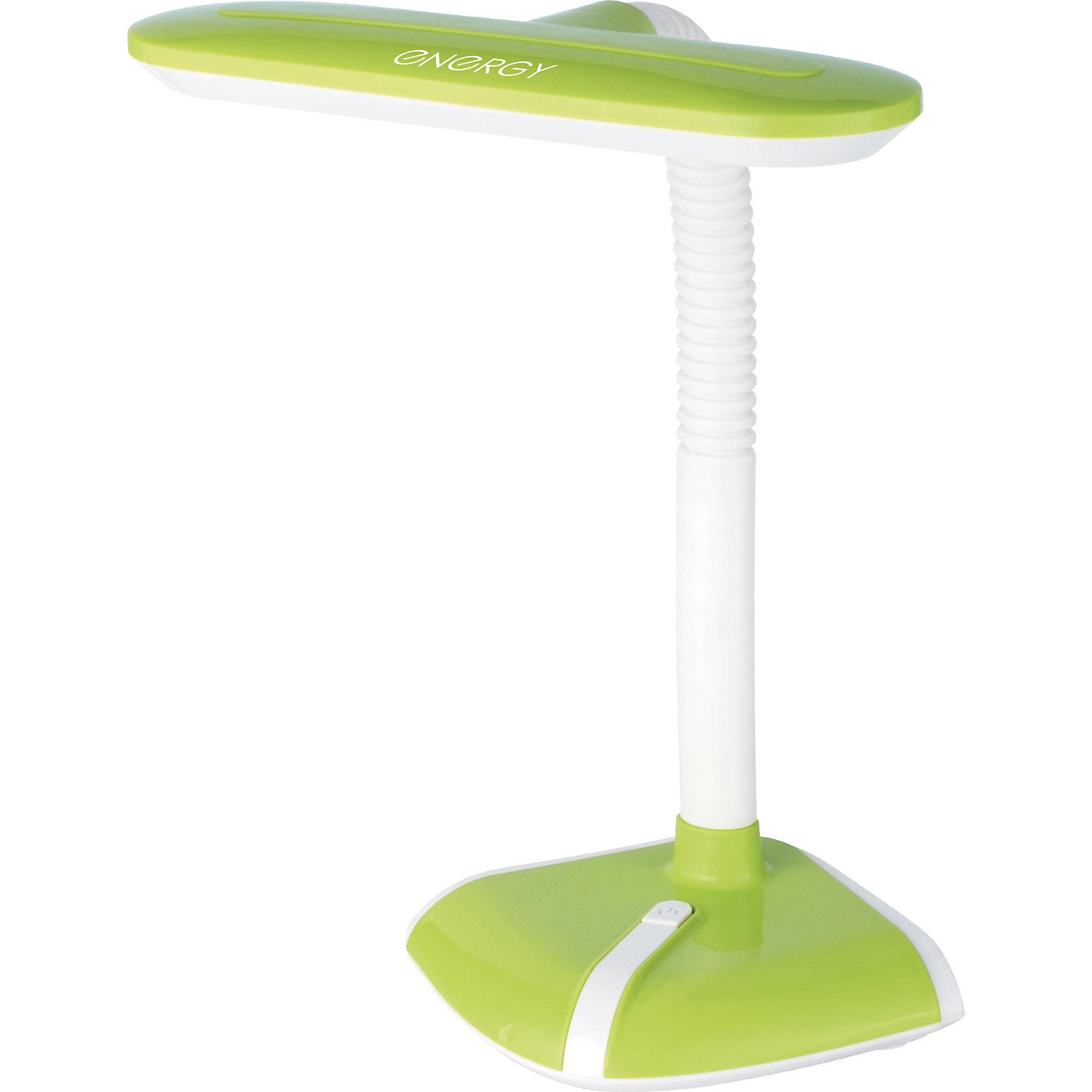 Лампа электрическая настольная EN-LED21, ENERGY, бело-зеленаяЛампы, ночники, фонарики<br>Лампа электрическая настольная EN-LED21, ENERGY (Энерджи), бело-зеленая<br><br>Характеристики:<br><br>• современный дизайн<br>• светодиодная лампа<br>• световой поток: 300 лм<br>• мощность: 4 Вт<br>• длина шнура: 1,2 м<br>• цвет: белый/зеленый<br>• материал: пластик, металл<br><br>Настольная светодиодная лампа станет надежным помощником в темное время суток. Лампы EN-LED21 хватит для полноценного освещения рабочего места. Настольная лампа имеет современный дизайн и удобно располагается на любом столе. Длина шнура составляет 1,2 метра. Это позволит вам расположить лампу вдали от розетки. Гибкая ножка позволяет регулировать направление освещения. Мощность - 4 Вт.<br><br>Лампу электрическую настольную EN-LED21, ENERGY (Энерджи), бело-зеленую можно купить в нашем интернет-магазине.<br><br>Ширина мм: 190<br>Глубина мм: 180<br>Высота мм: 250<br>Вес г: 933<br>Возраст от месяцев: 216<br>Возраст до месяцев: 1188<br>Пол: Унисекс<br>Возраст: Детский<br>SKU: 5454019