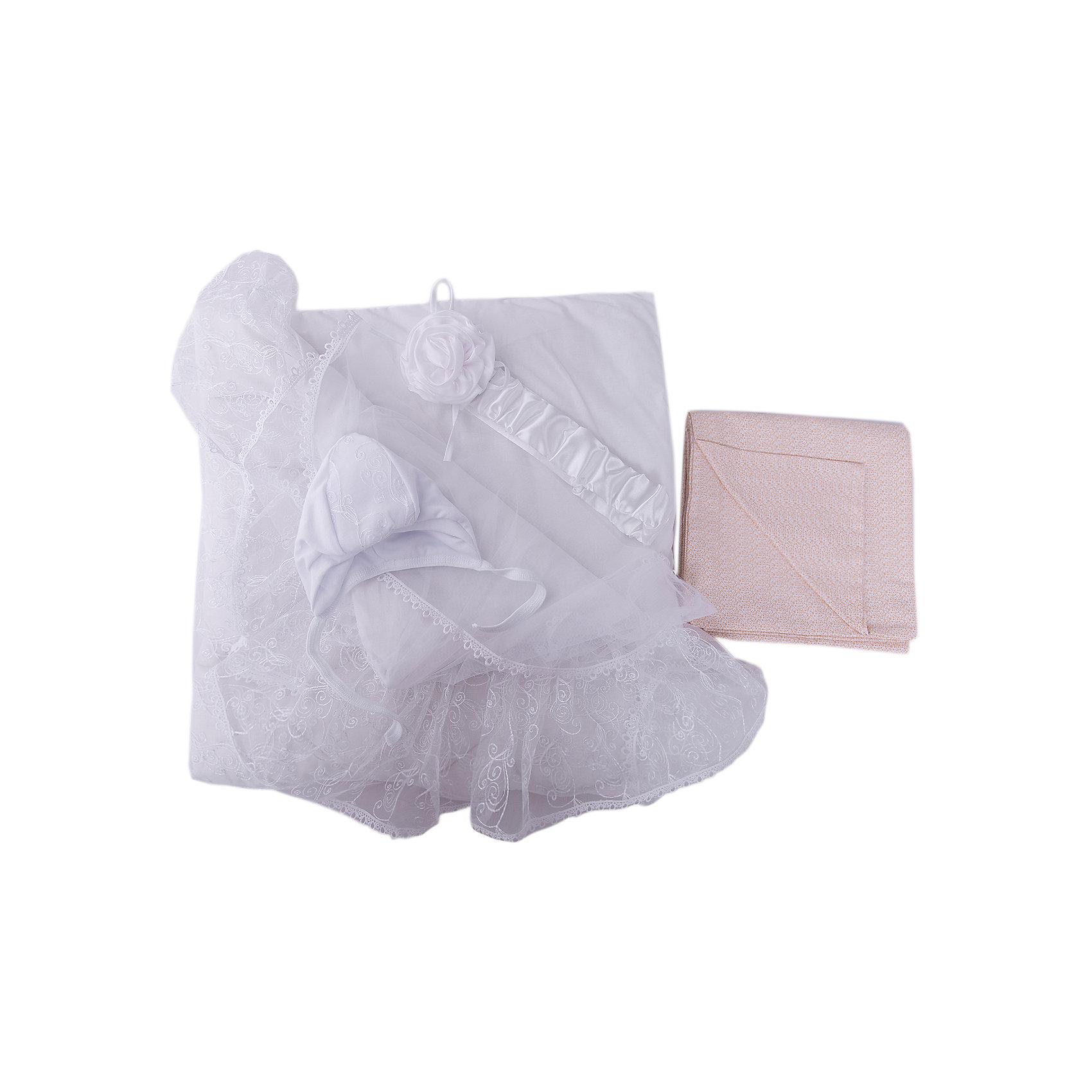Комплект на выписку Диамант, 1715/0, Сонный ГномикКонверты на выписку<br>Комплектация: Одеяло стеганое кашемир (наполнитель 60% кашемир, 40% пэ 200г/кв.м.), пододеяльник кружевной с вуалью и кружевом (100% ПЭ), сменный пододеяльник из сатина (100% хлопок), утепленная шапочка с кружевной отделкой (100% хлопок, наполнитель 100% ПЭ, 100г/кв.м), пояс на резинке (100% ПЭ)<br>Размер, см: 105х105<br>Температурный режим, °С: От 10 до -10<br>Сезонность: Зима, весна, осень<br><br>Ширина мм: 45<br>Глубина мм: 10<br>Высота мм: 60<br>Вес г: 700<br>Возраст от месяцев: 0<br>Возраст до месяцев: 36<br>Пол: Унисекс<br>Возраст: Детский<br>SKU: 5454109