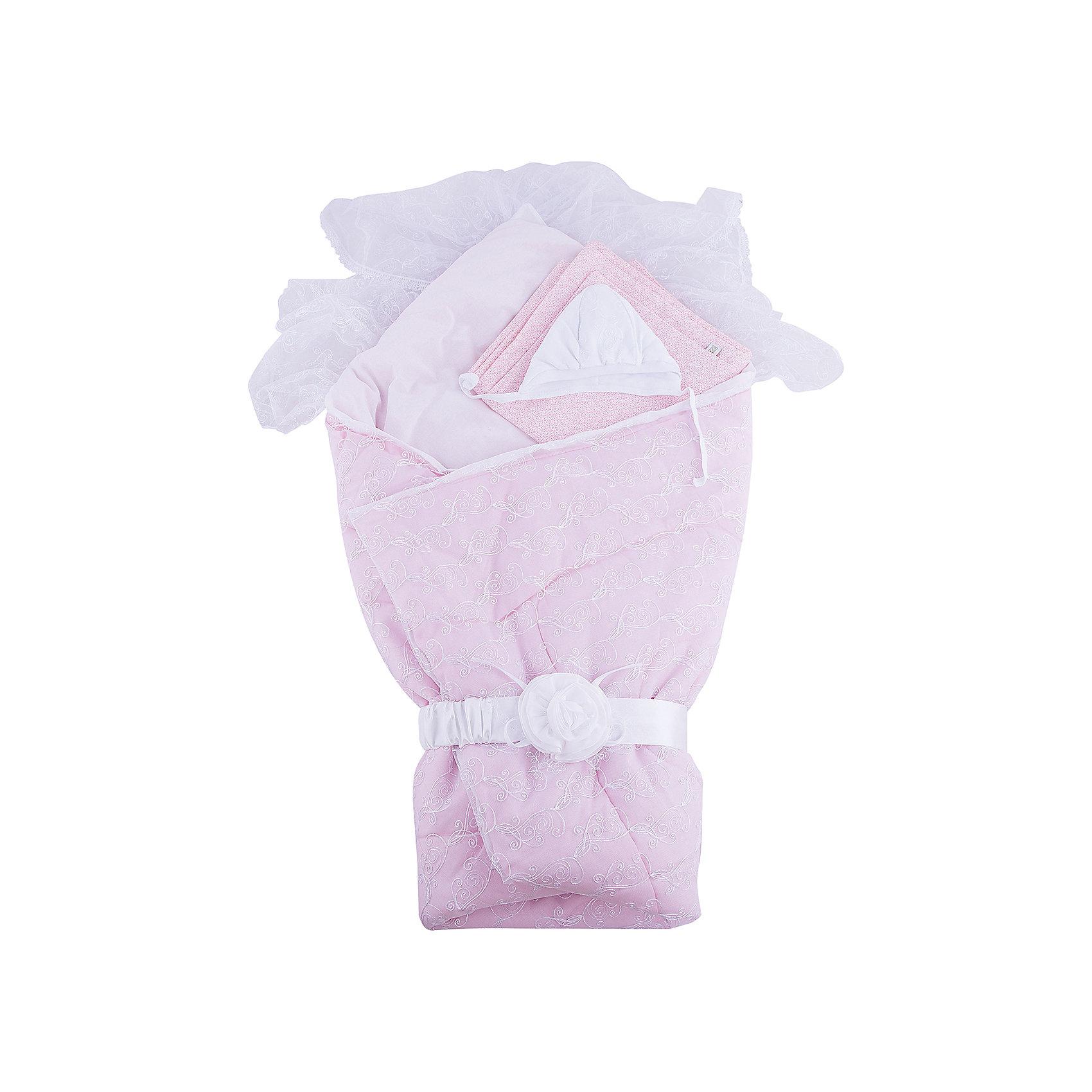 Комплект на выписку Диамант, 1715/2, Сонный Гномик , розовыйКомплектация: Одеяло стеганое кашемир (наполнитель 60% кашемир, 40% пэ 200г/кв.м.), пододеяльник кружевной с вуалью и кружевом (100% ПЭ), сменный пододеяльник из сатина (100% хлопок), утепленная шапочка с кружевной отделкой (100% хлопок, наполнитель 100% ПЭ, 100г/кв.м), пояс на резинке (100% ПЭ)<br>Размер, см: 105х105<br>Температурный режим, °С: От 10 до -10<br>Сезонность: Зима, весна, осень<br><br>Ширина мм: 45<br>Глубина мм: 10<br>Высота мм: 60<br>Вес г: 700<br>Возраст от месяцев: 0<br>Возраст до месяцев: 36<br>Пол: Унисекс<br>Возраст: Детский<br>SKU: 5454111