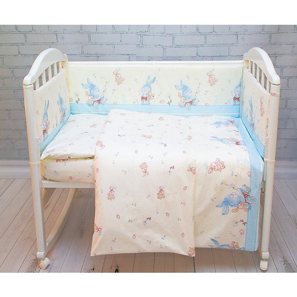 Купить Комплект в кроватку 6 пред., Зайка Baby Nice, голубой, Россия, Мужской