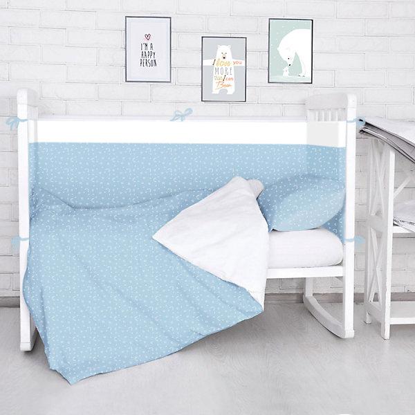 Борт в кроватку Луны, звездочки Baby Nice, голубойПостельное белье в кроватку новорождённого<br>Борт в кроватку Луны, звездочки Baby Nice, голубой<br><br>Характеристики:<br><br>• В набор входит: 4 борта<br>• Состав постельного белья: 100% хлопок<br>• Состав наполнителя: периотек<br>• Размеры: 2 борта 60 * 35 см, 2 борта 120 * 35 см.<br>• Тип ткани: бязь.<br>• Для детей в возрасте: от 0 мес<br>• Страна производитель: Россия<br><br>Яркий и натуральный набор бортов из четырех частей от Объединенной Текстильной Компании, специализирующейся на производстве качественного постельного белья и принадлежностей по приемлемой цене. Нежная расцветка белыми лунами и звёздочками на нежном голубом фоне и с окантовкой из белой полоски идеально подойдет и для мальчиков. <br><br>Бортики уберегут нежный сон ребенка и не позволят во сне просунуть ручку между перегородкой кроватки. Благодаря тому, что кроватка закрывает малыша со всех сторон вероятность того, что ребёнка продует от сквозняка снижается. Все составные части набора изготовлены из 100% хлопка, приятны к прикосновению и не вызывают аллергии. Набор станет отличным подарком для новорожденного. Добавьте атмосферы уюта и комфорта вместе с новым бортом в кроватку!<br><br>Борт в кроватку Луны, звездочки Baby Nice, голубой можно купить в нашем интернет-магазине<br><br>Ширина мм: 230<br>Глубина мм: 250<br>Высота мм: 40<br>Вес г: 700<br>Возраст от месяцев: 0<br>Возраст до месяцев: 12<br>Пол: Мужской<br>Возраст: Детский<br>SKU: 5454343